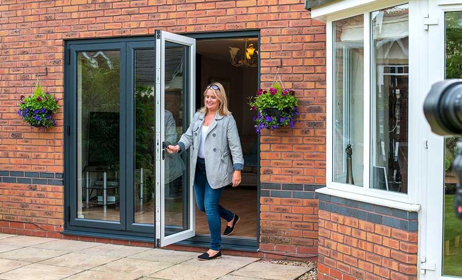 6ft white upvc bifold folding door set flying doors for Inside outside doors