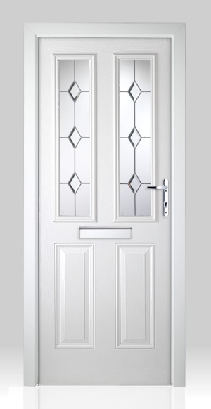Victorian Left Hand White Composite Front Door Flying Doors