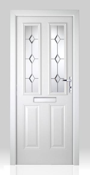 Victorian Left Hand White Composite Front Door