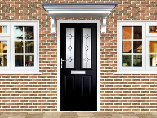Victorian Right Hand Black Composite Front Door Flying Doors
