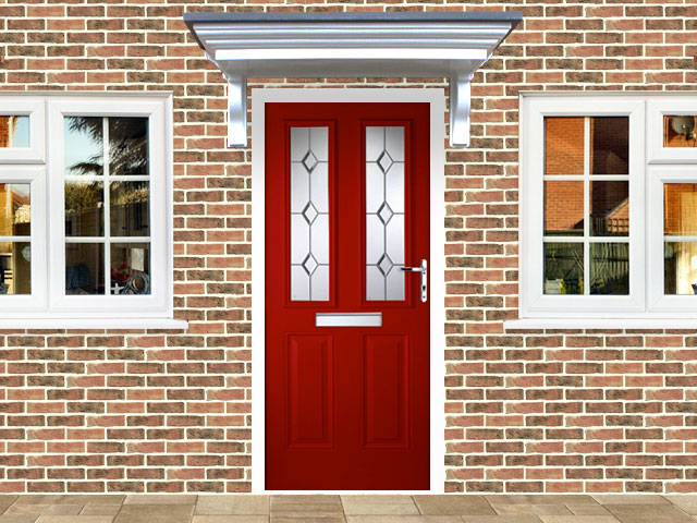 Victorian Left Hand Red Composite Front Door Flying Doors