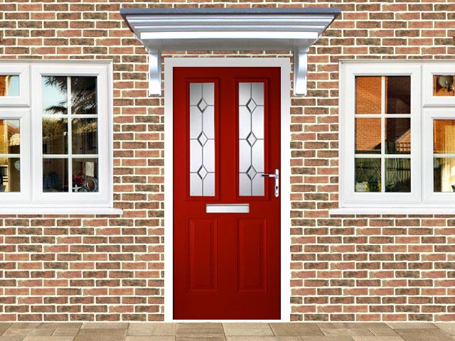 Victorian Left Hand Red Composite Front Door Flying Doors