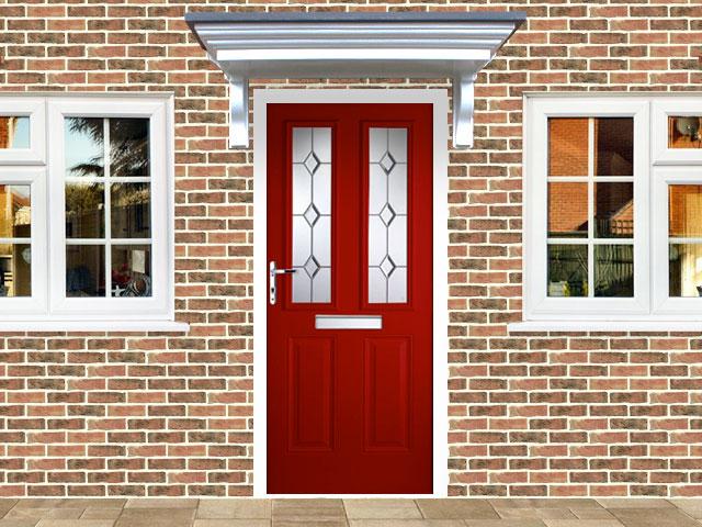 Victorian Right Hand Red Composite Front Door Flying Doors