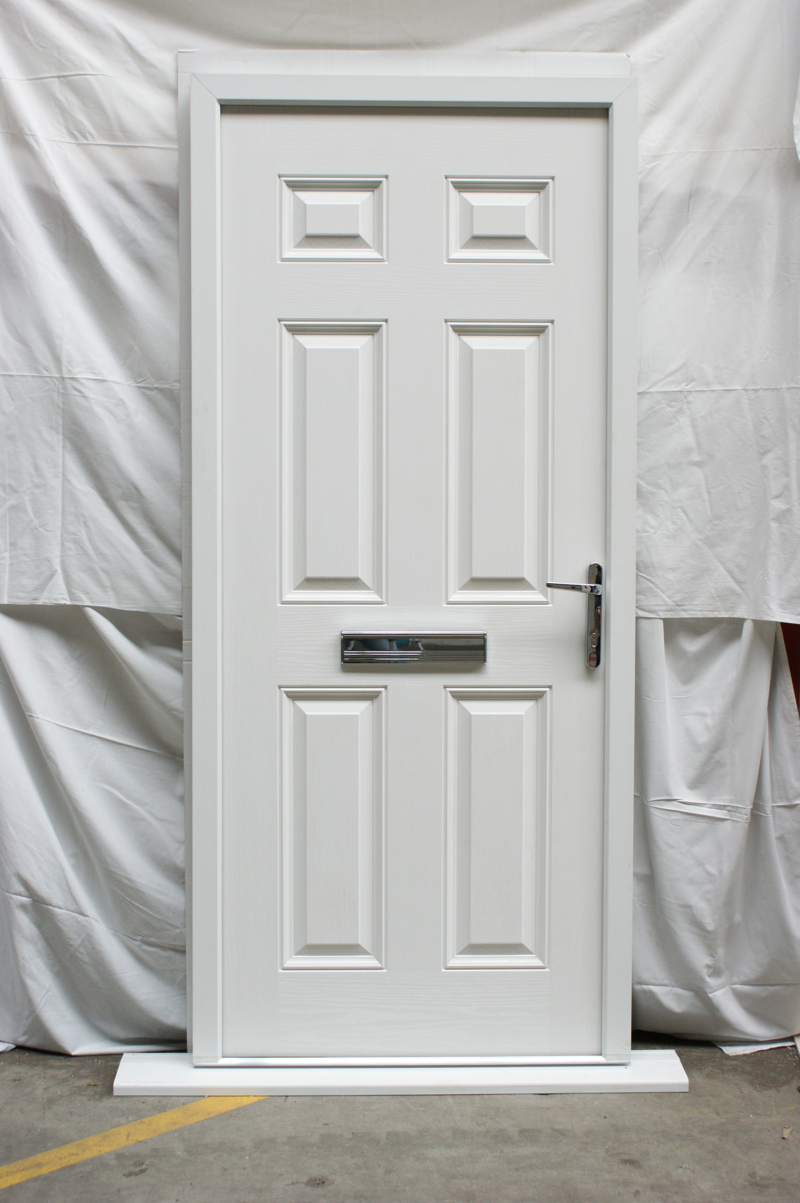 Victorian Left Hand White Composite Front Door Flying Doors