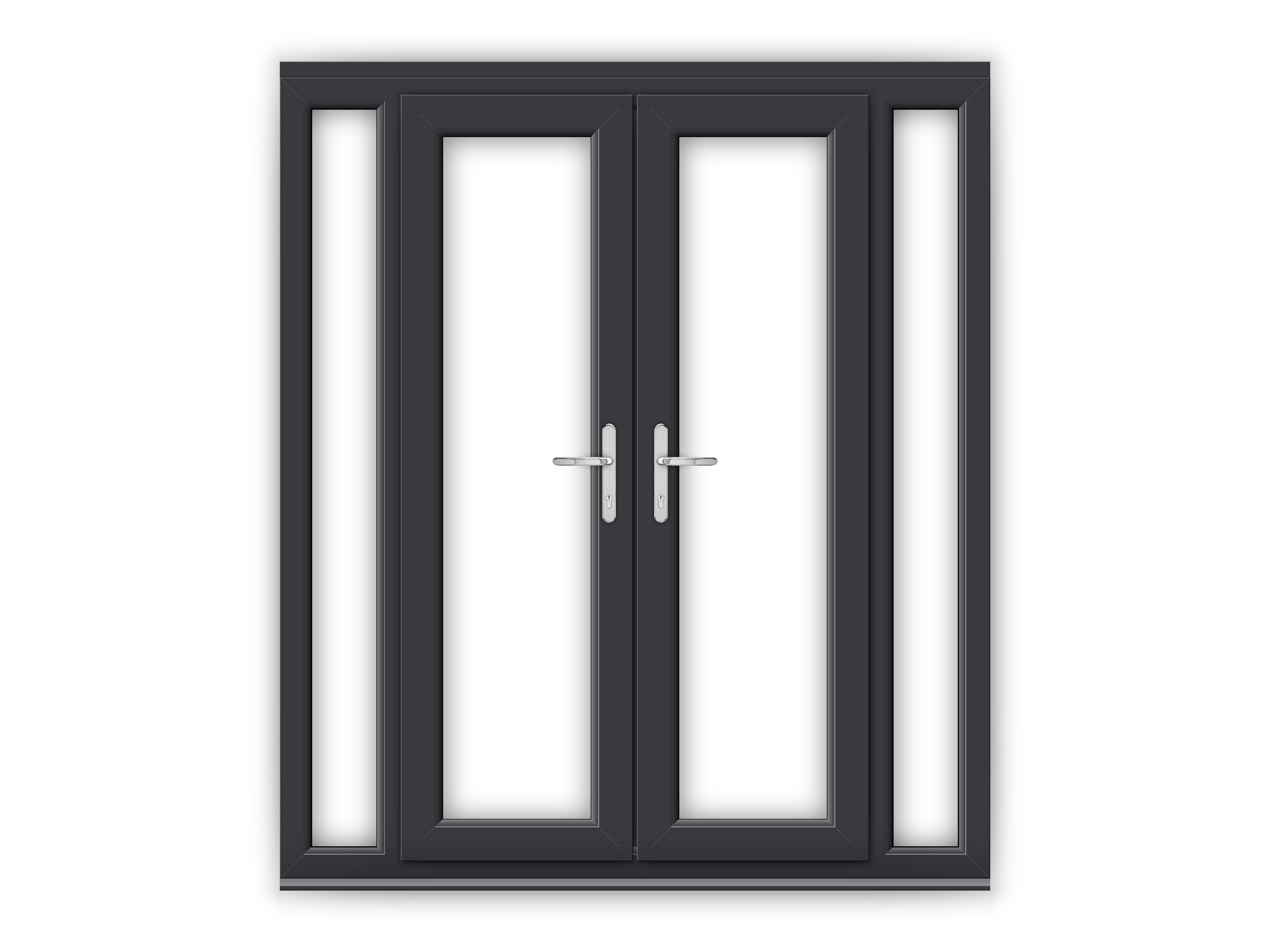 4ft anthracite grey upvc french doors with narrow side