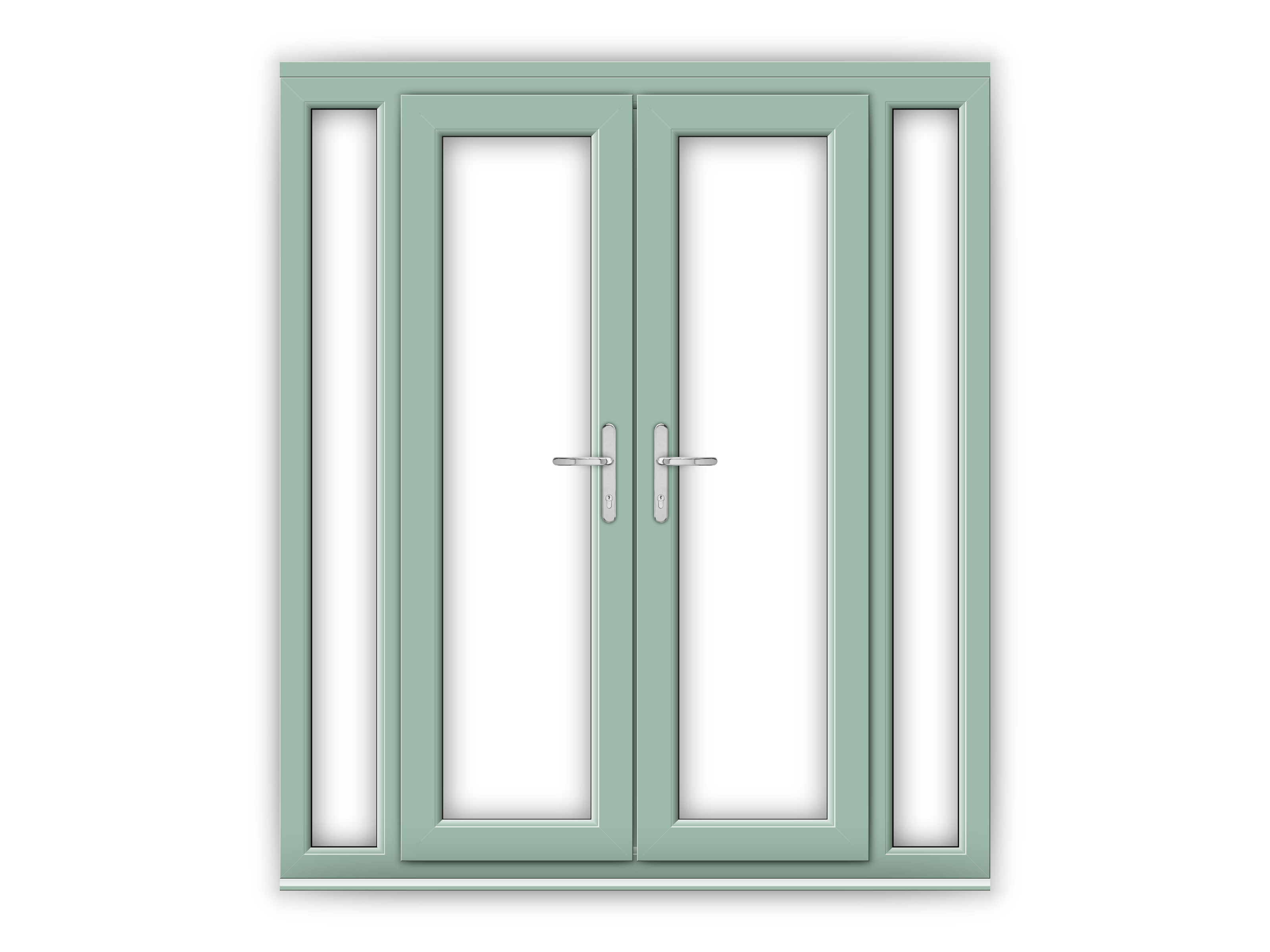 4ft chartwell green upvc french doors with narrow side for Narrow french patio doors