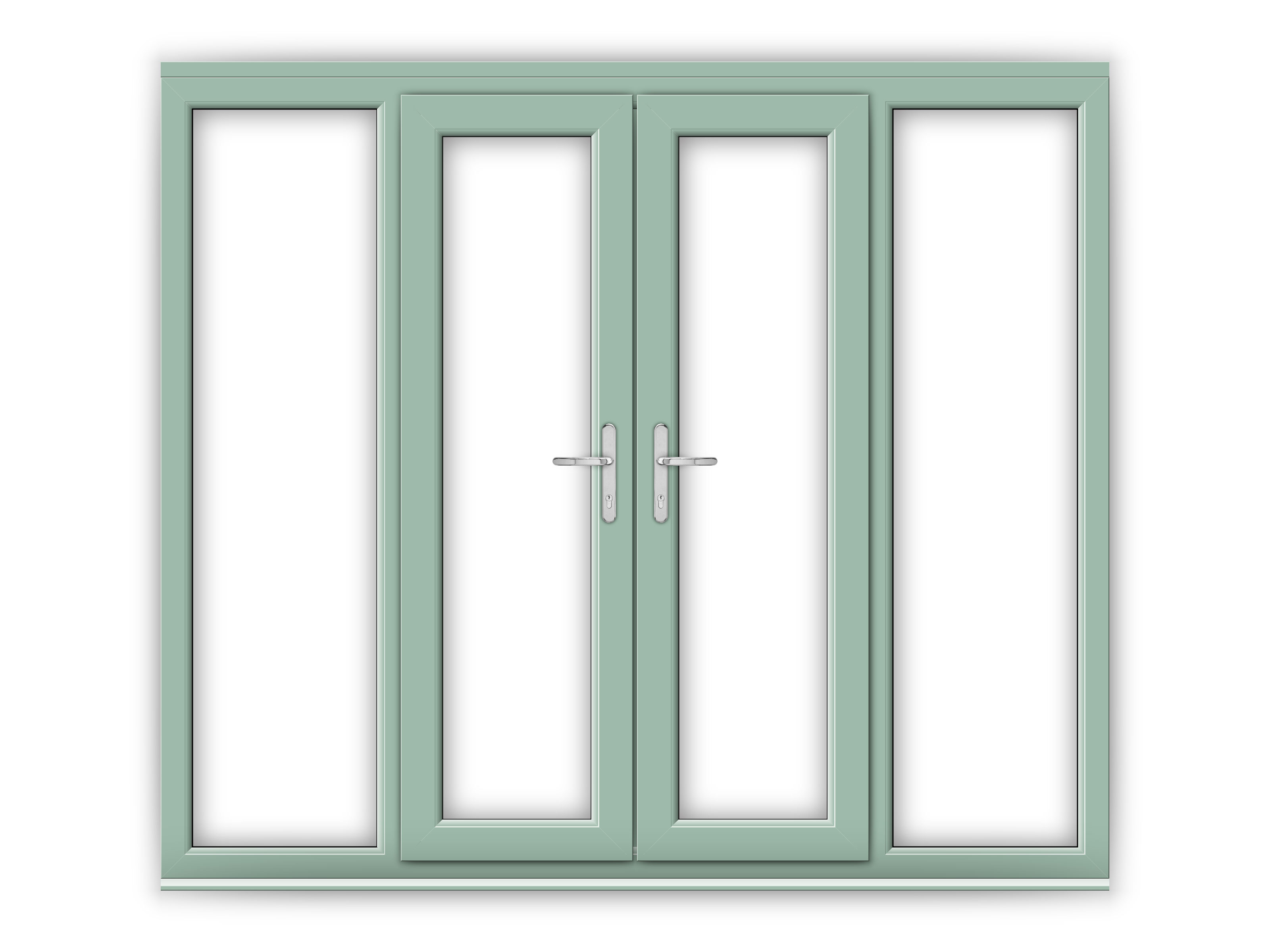 4ft Chartwell Green uPVC French Doors with Wide Side Panels