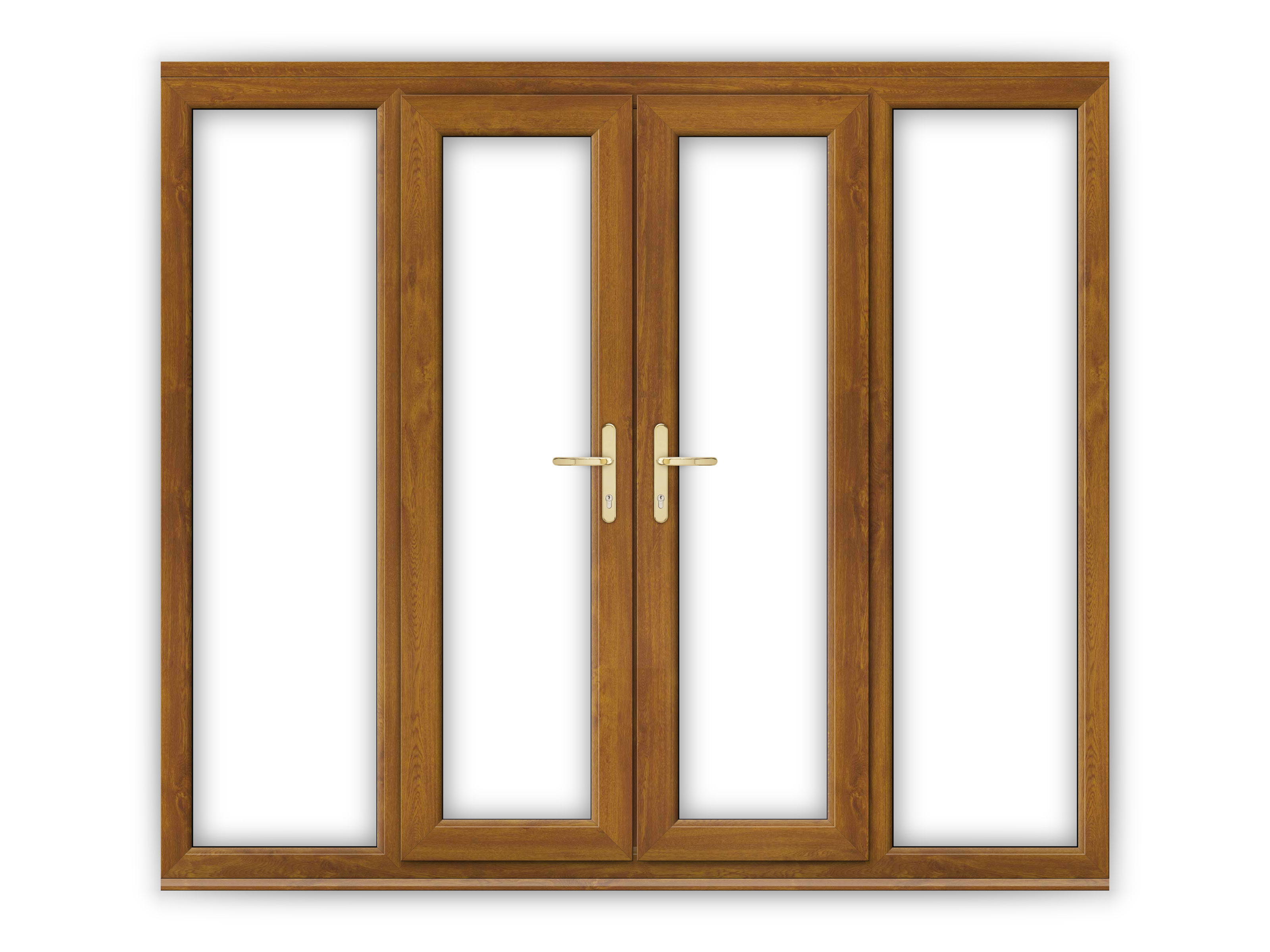 4ft golden oak upvc french doors with wide side panels for Upvc french doors 4ft