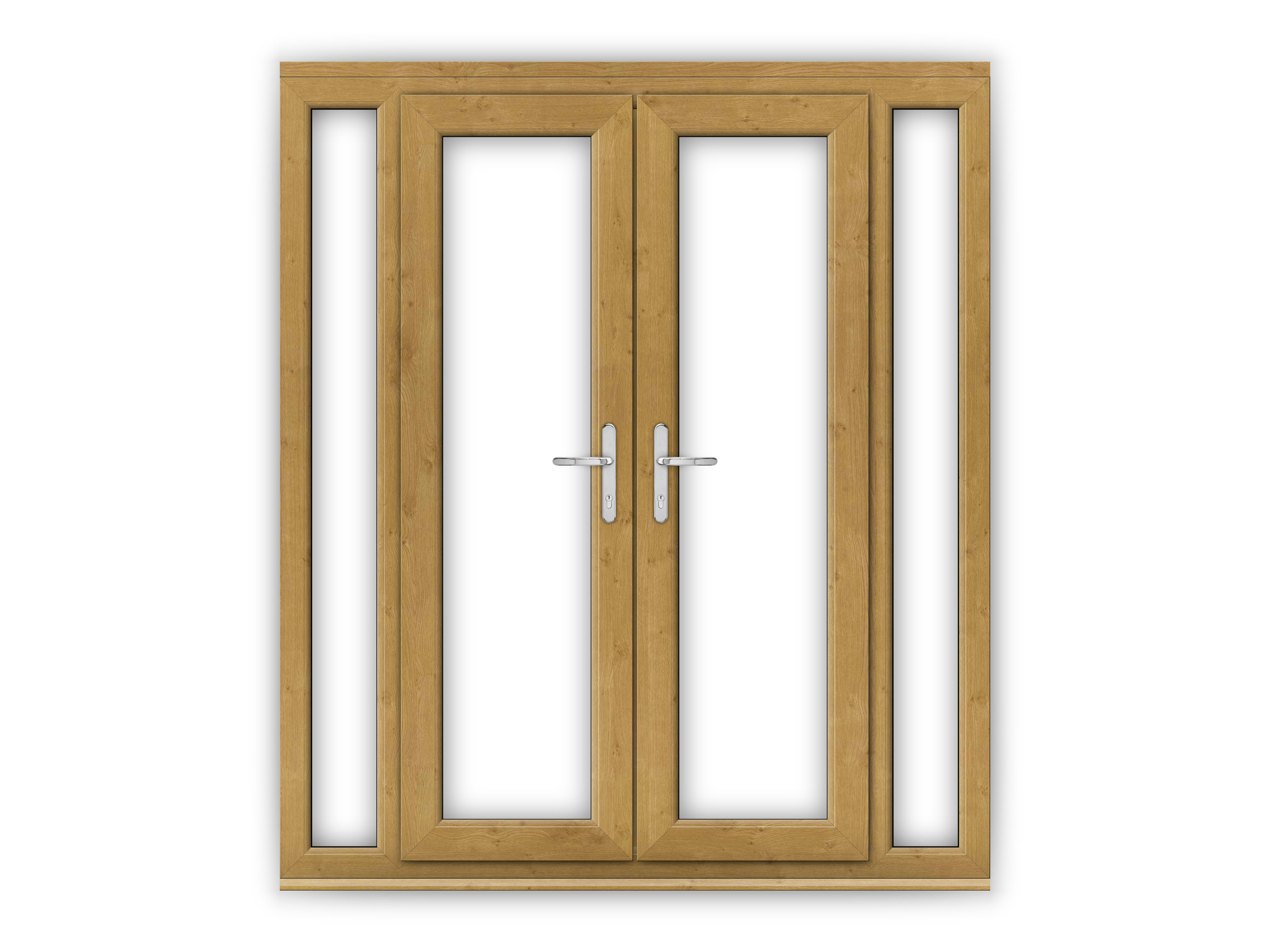 4ft irish oak upvc french doors with narrow side panels for Narrow french patio doors