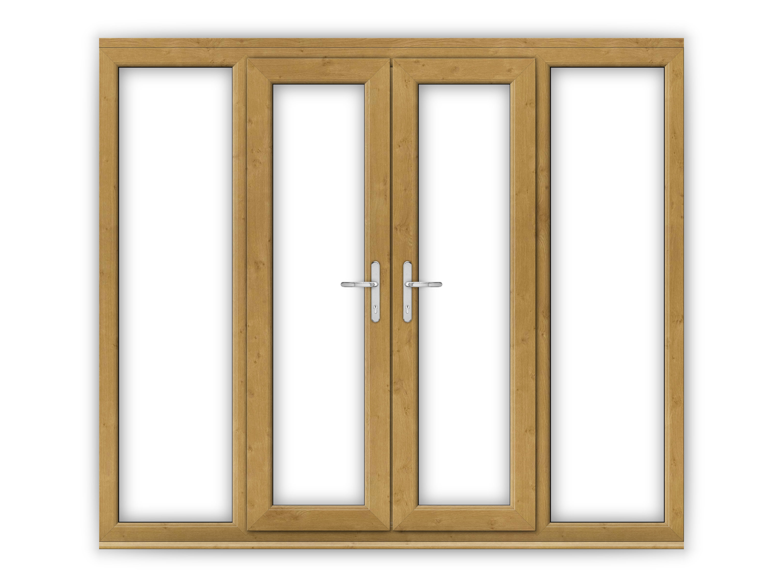 4ft irish oak upvc french doors with wide side panels for Oak french doors