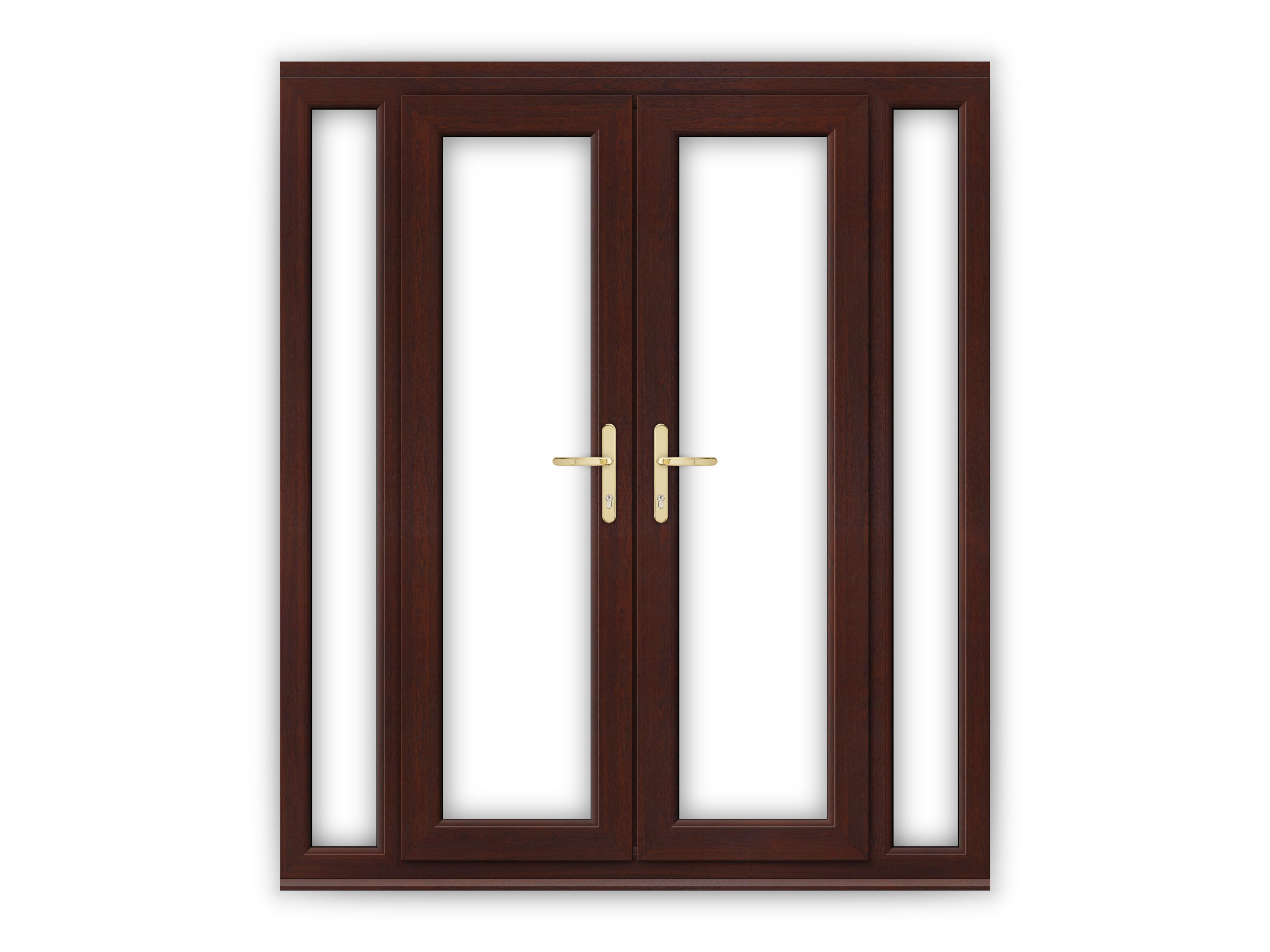 4ft rosewood upvc french doors with narrow side panels
