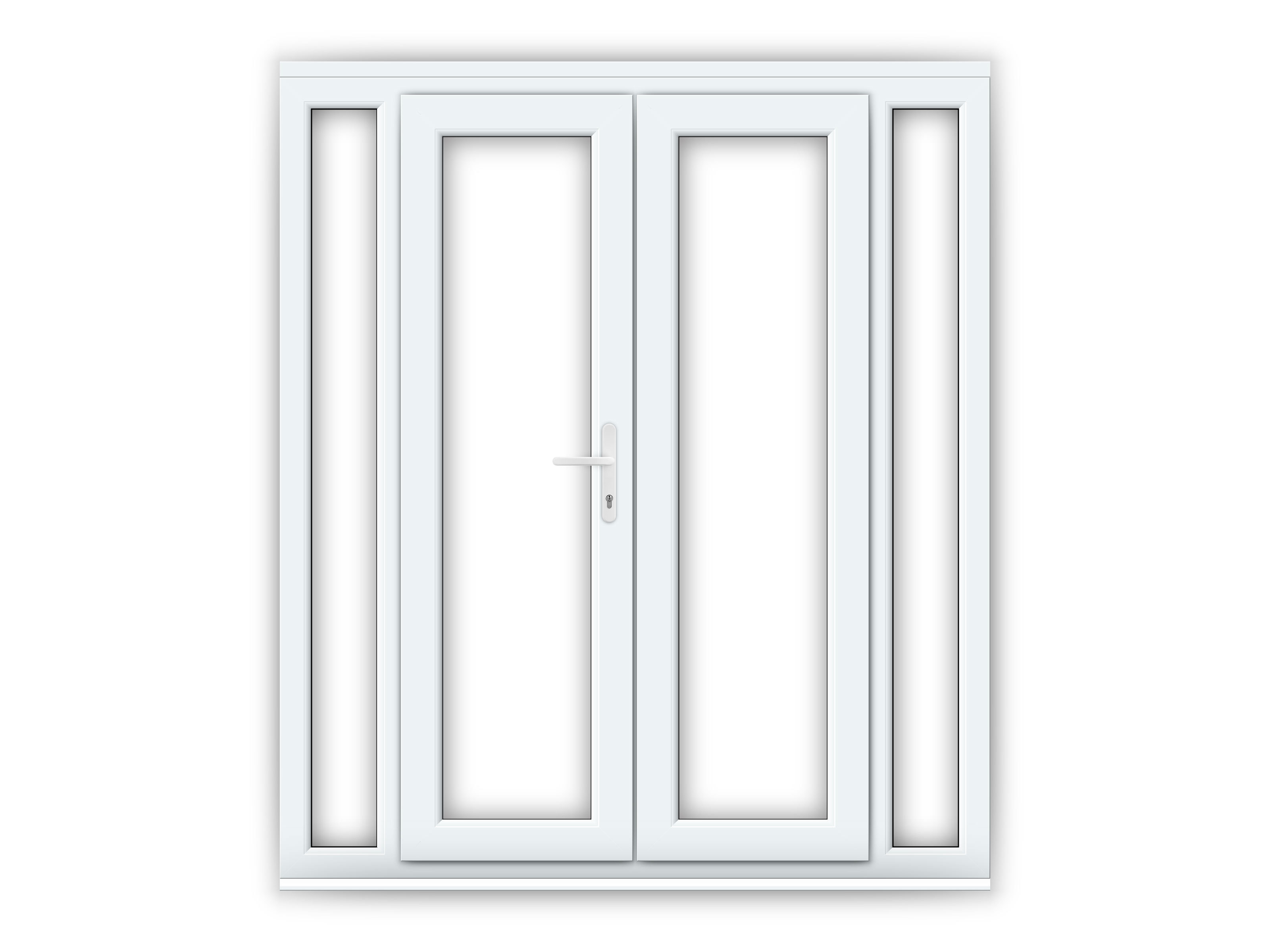 4ft upvc french doors with 2 narrow upvc side panels for Doors with panels