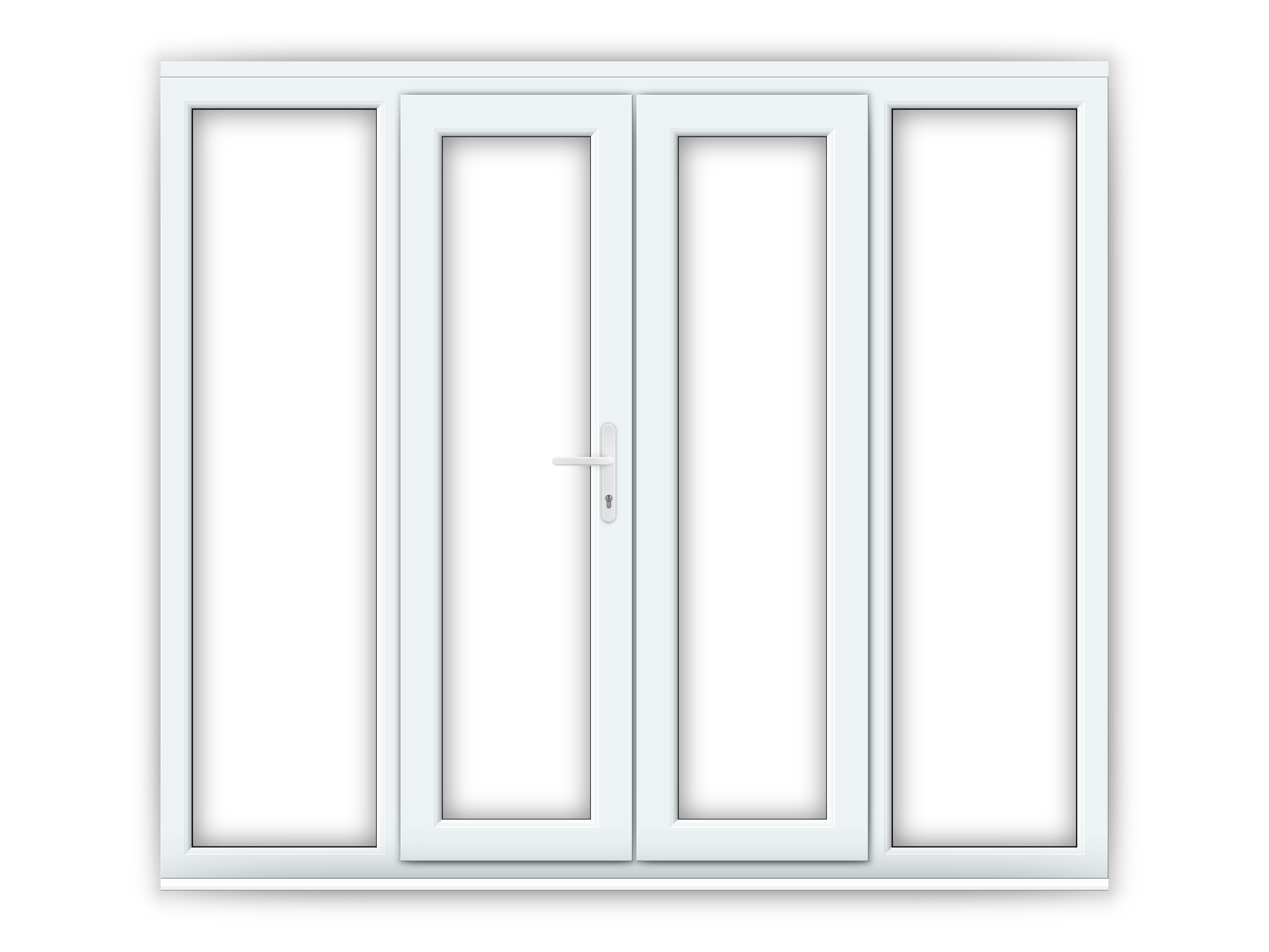 4ft upvc french doors with 2 wide upvc side panels