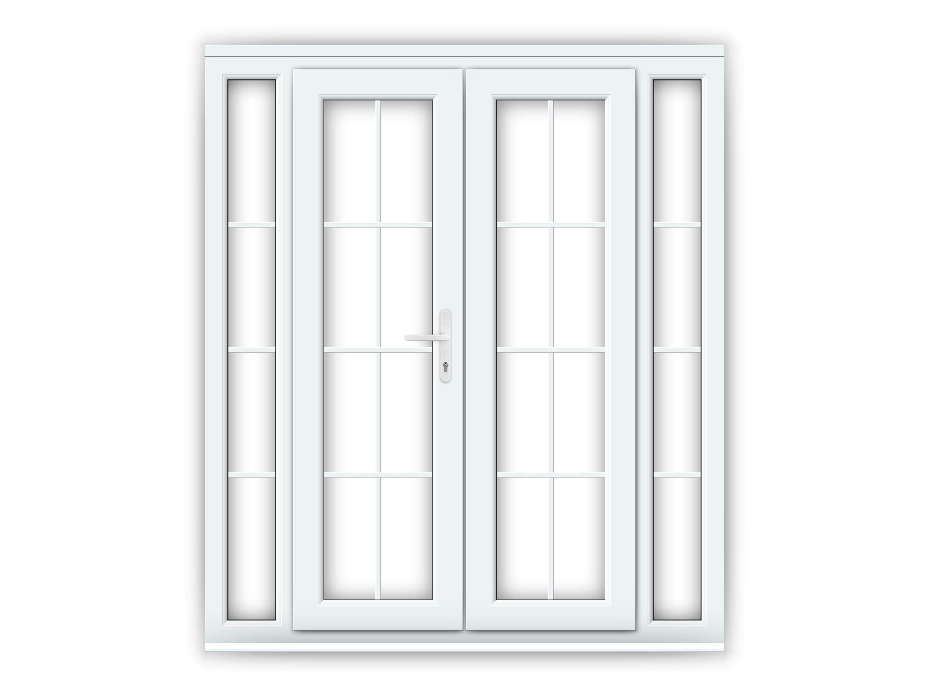 4ft upvc georgian french doors with 2 narrow upvc side for Narrow french patio doors