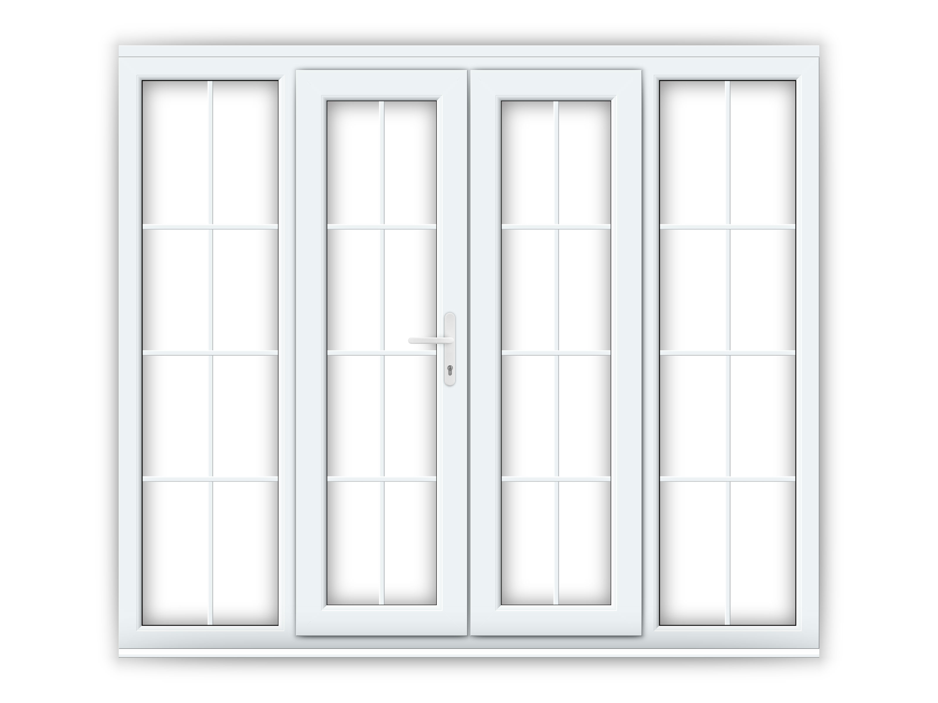 4ft uPVC Georgian French Doors with Wide Side Panels