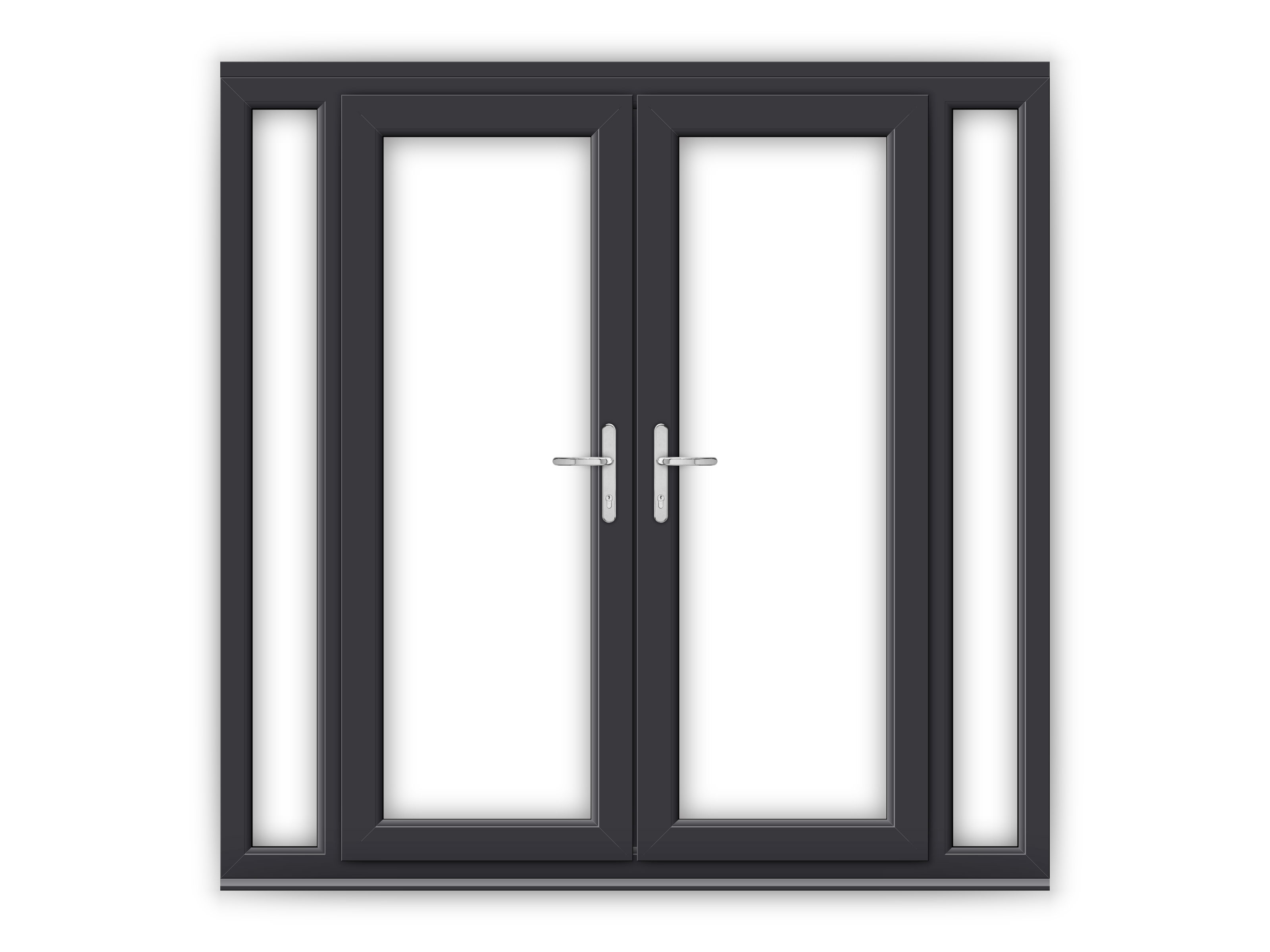 5ft anthracite grey upvc french doors with narrow side for Upvc french doors grey