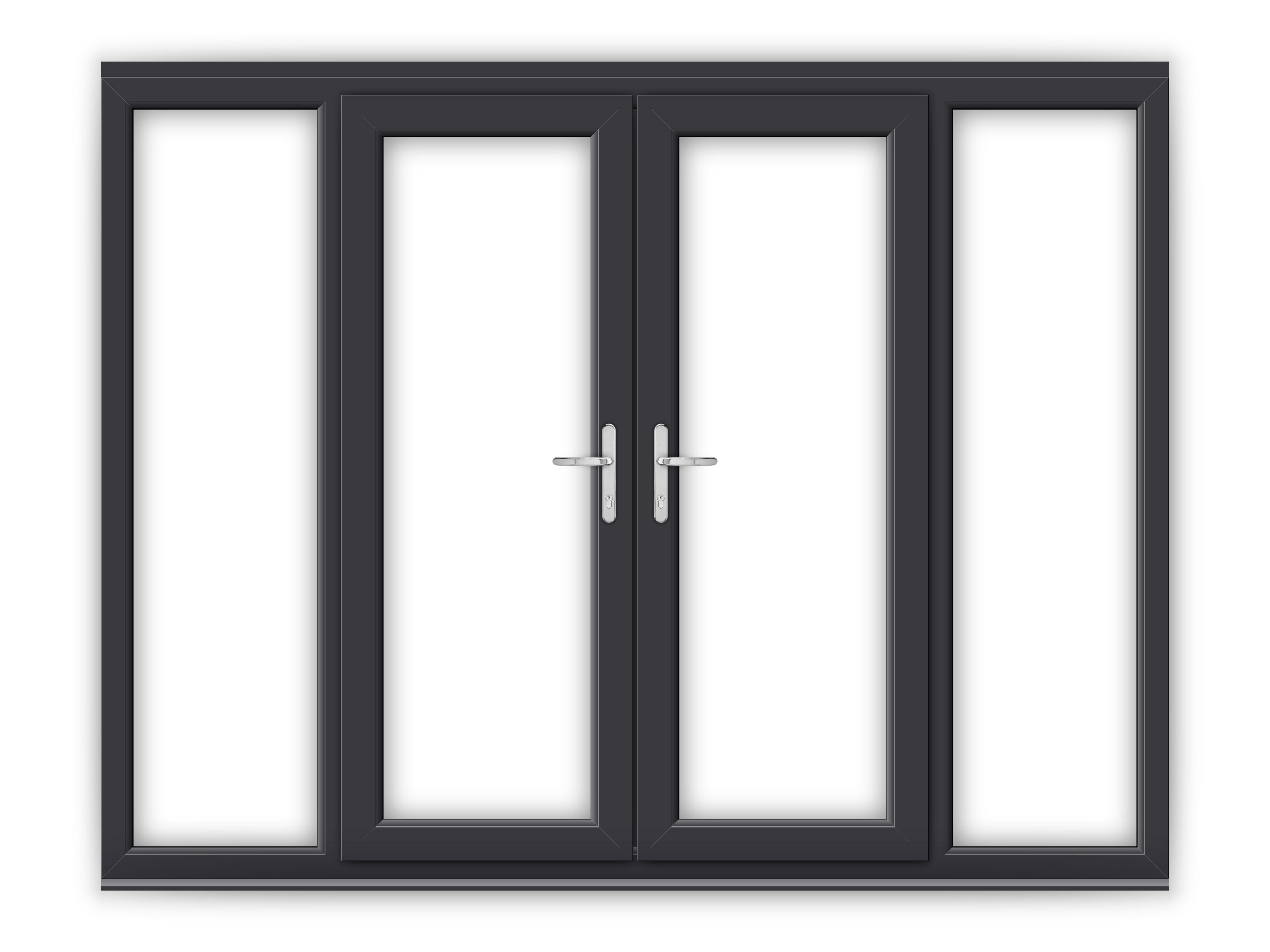 5ft anthracite grey upvc french doors with wide side
