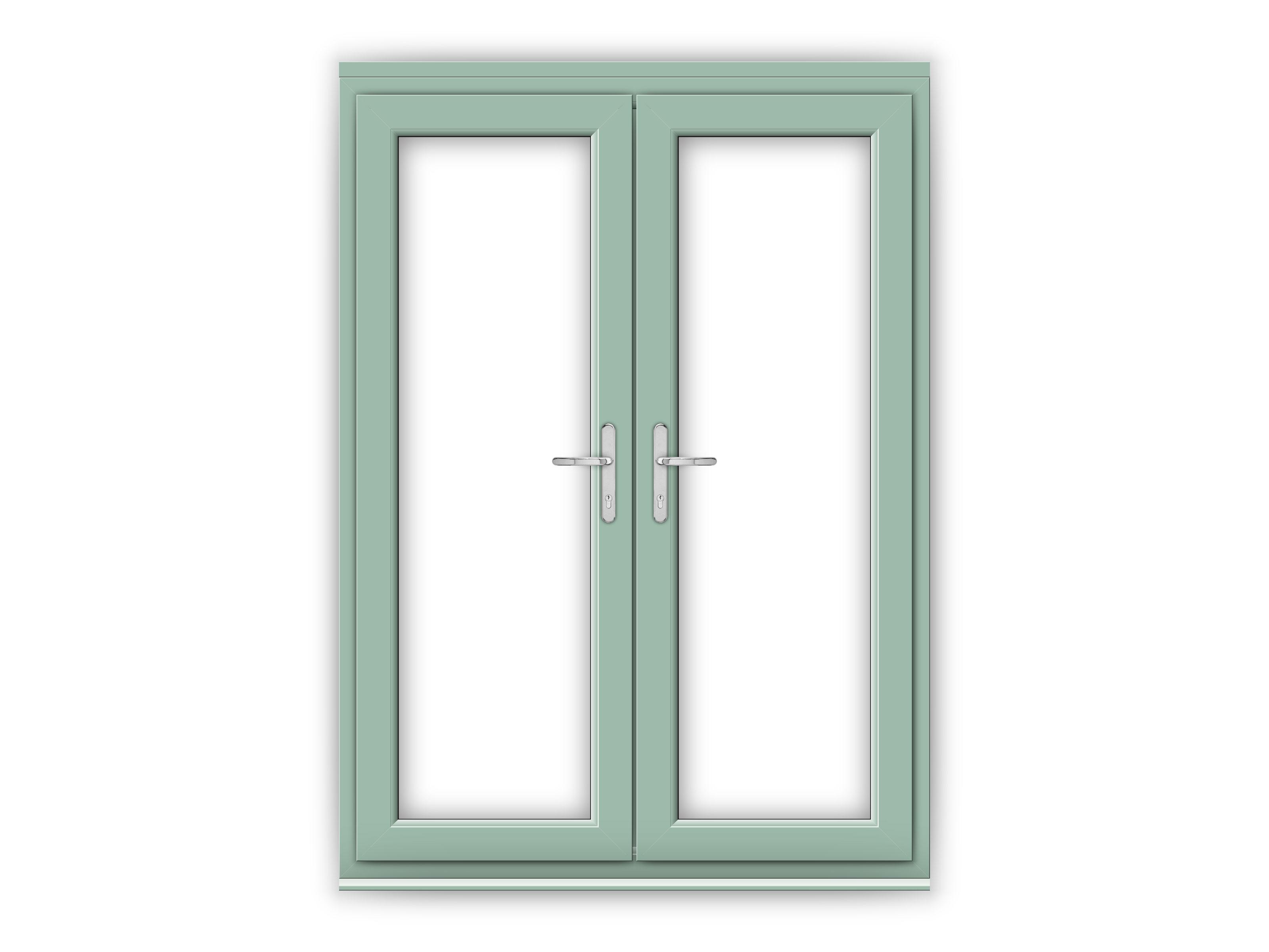5ft chartwell green upvc french doors flying doors for Upvc french door handles