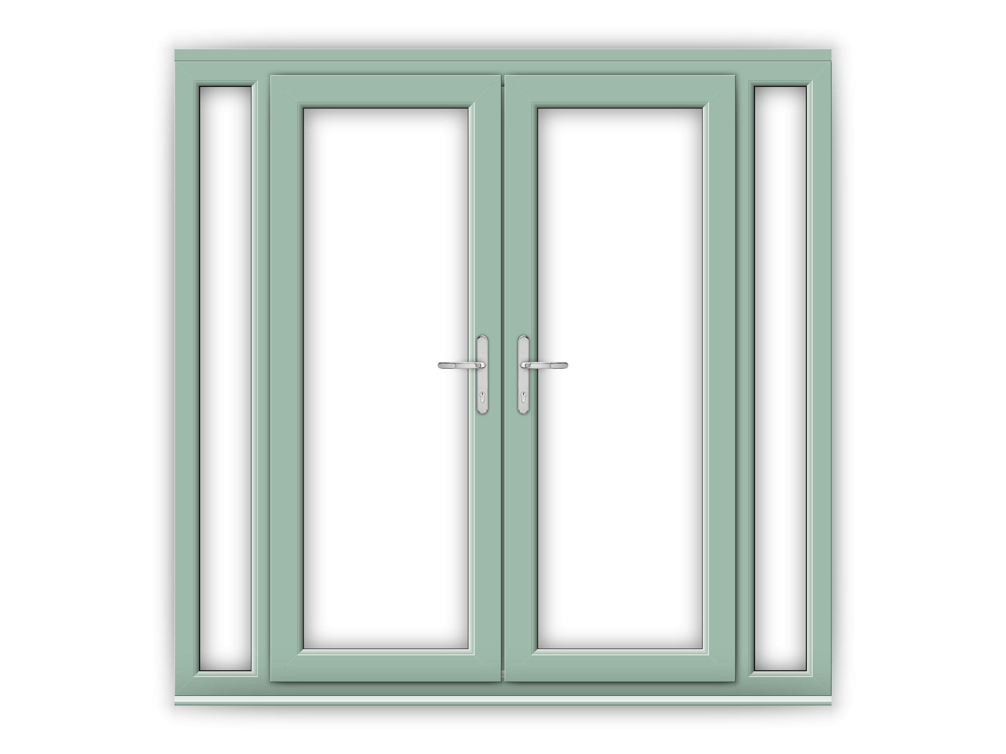 5ft Chartwell Green uPVC French Doors with Narrow Side Panels