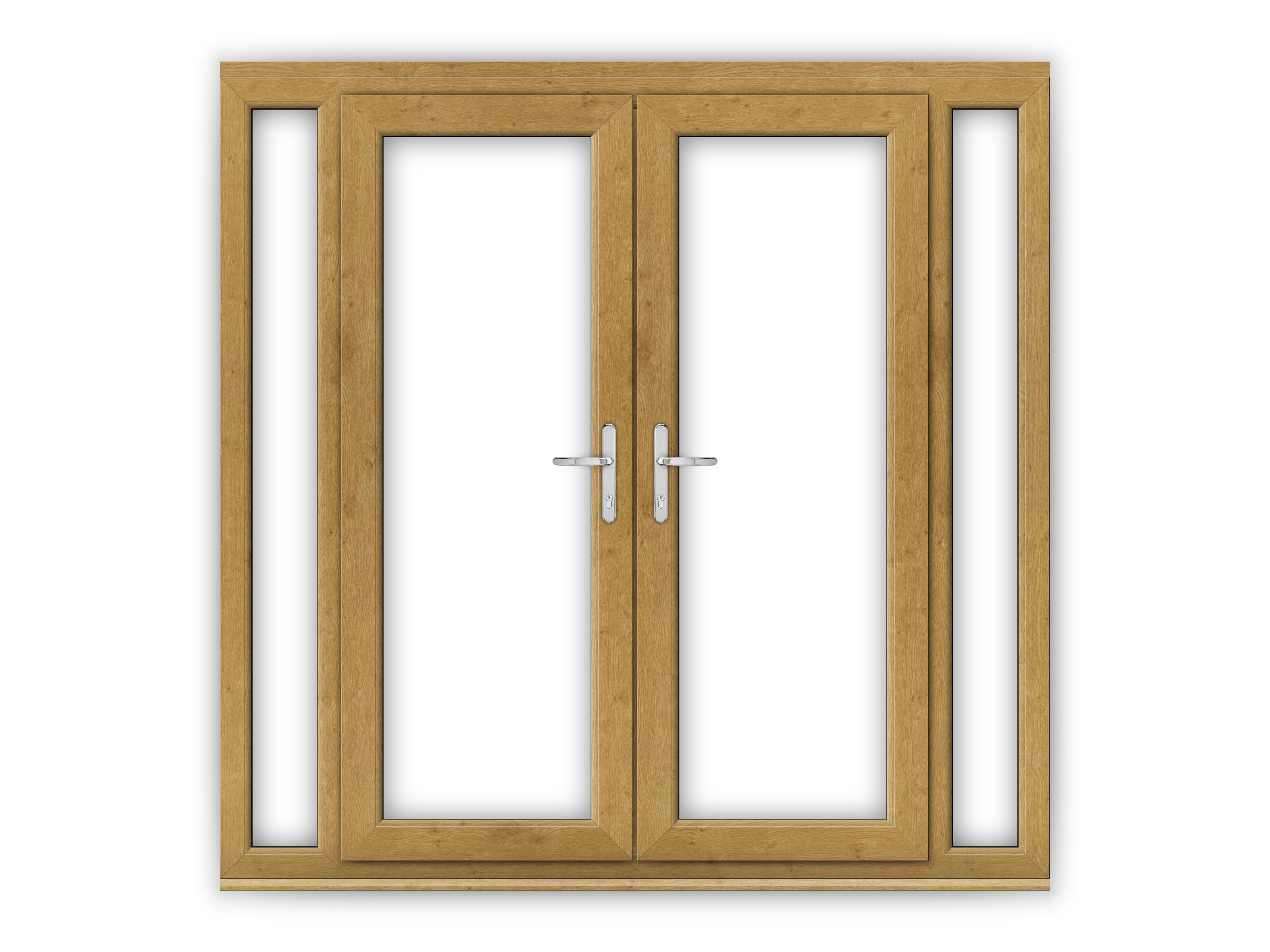 5ft irish oak upvc french doors with narrow side panels for Narrow french patio doors