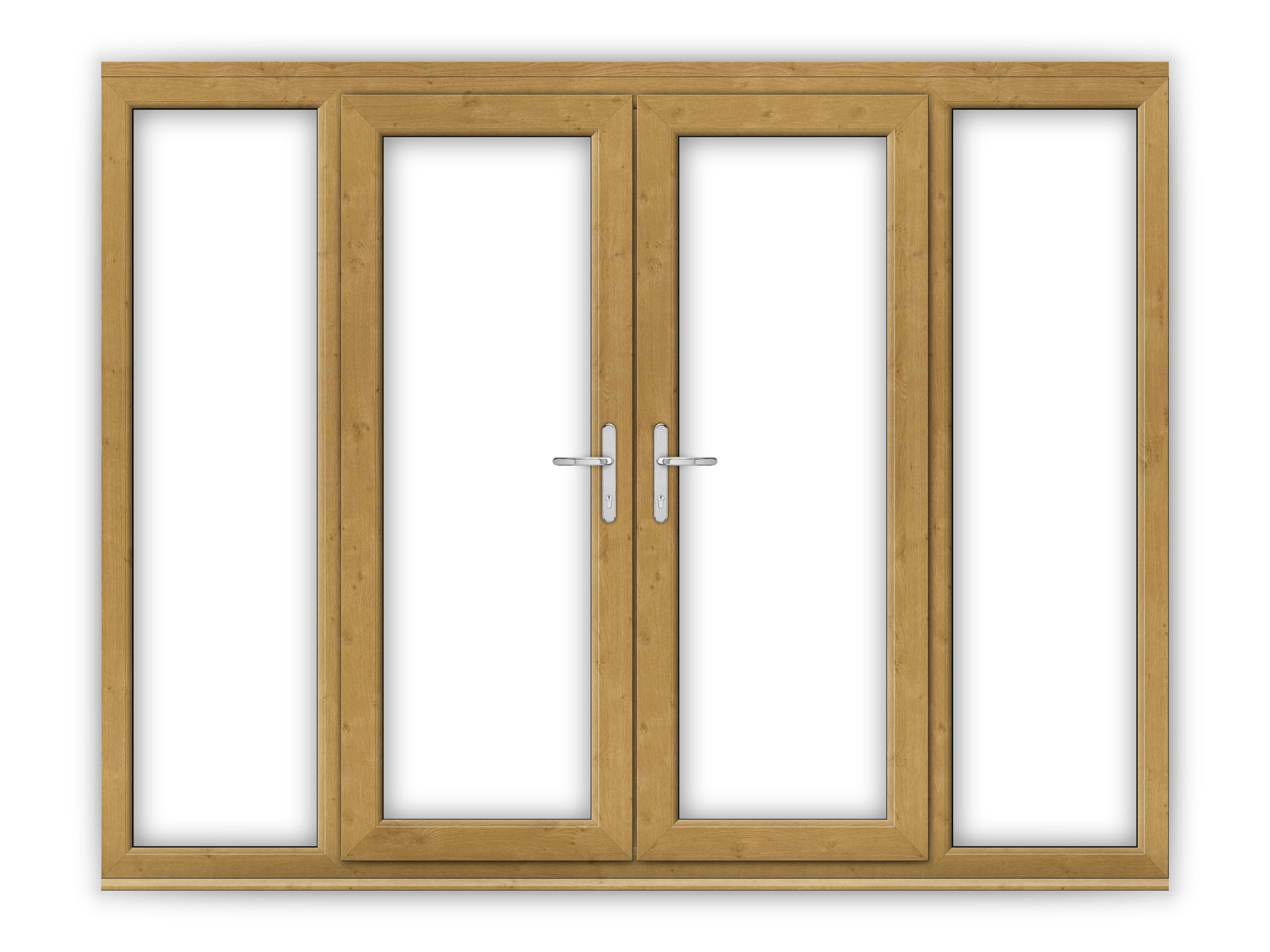 5ft irish oak upvc french doors with wide side panels