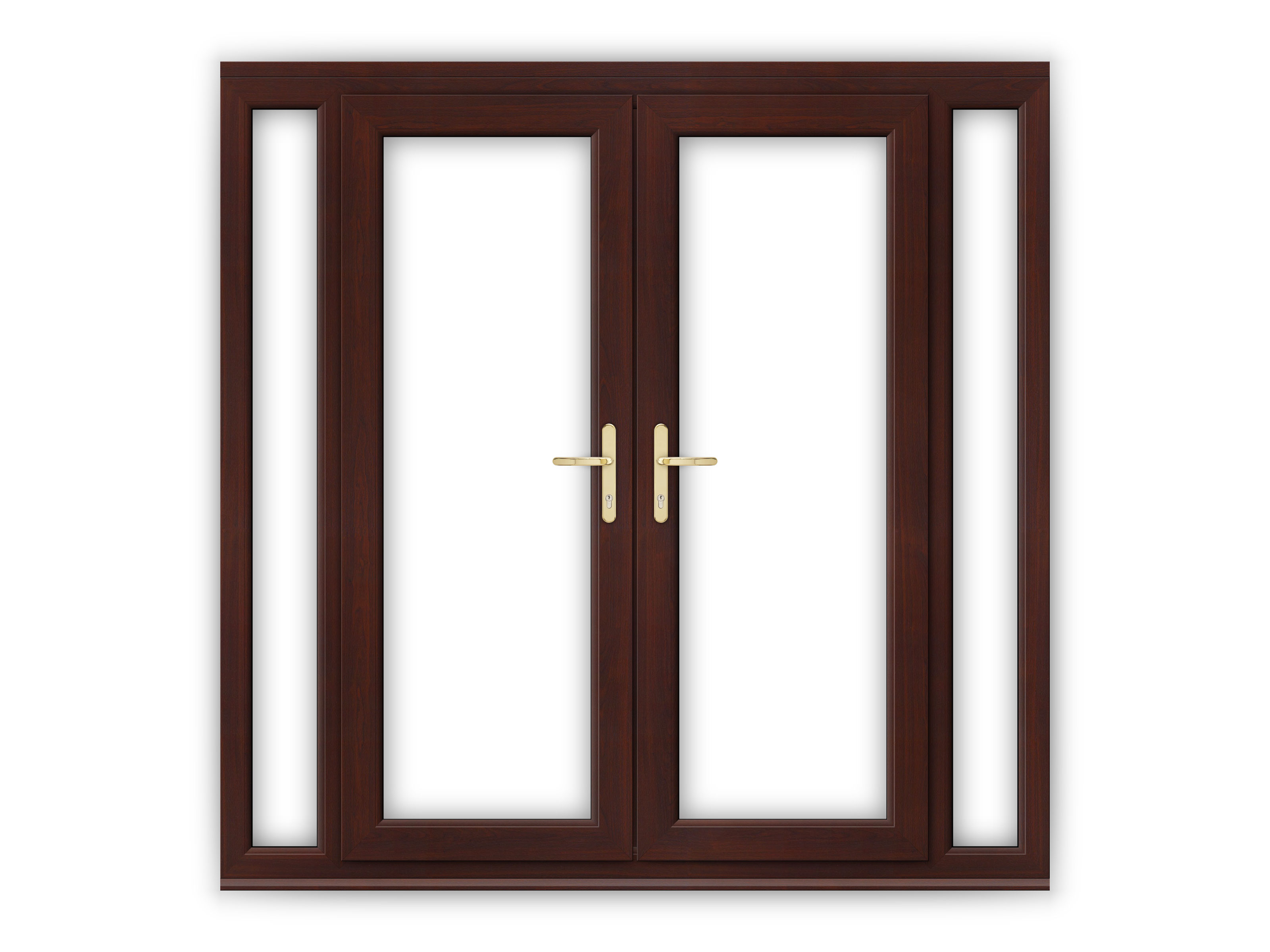 5ft rosewood upvc french doors with narrow side panels for Five foot french doors