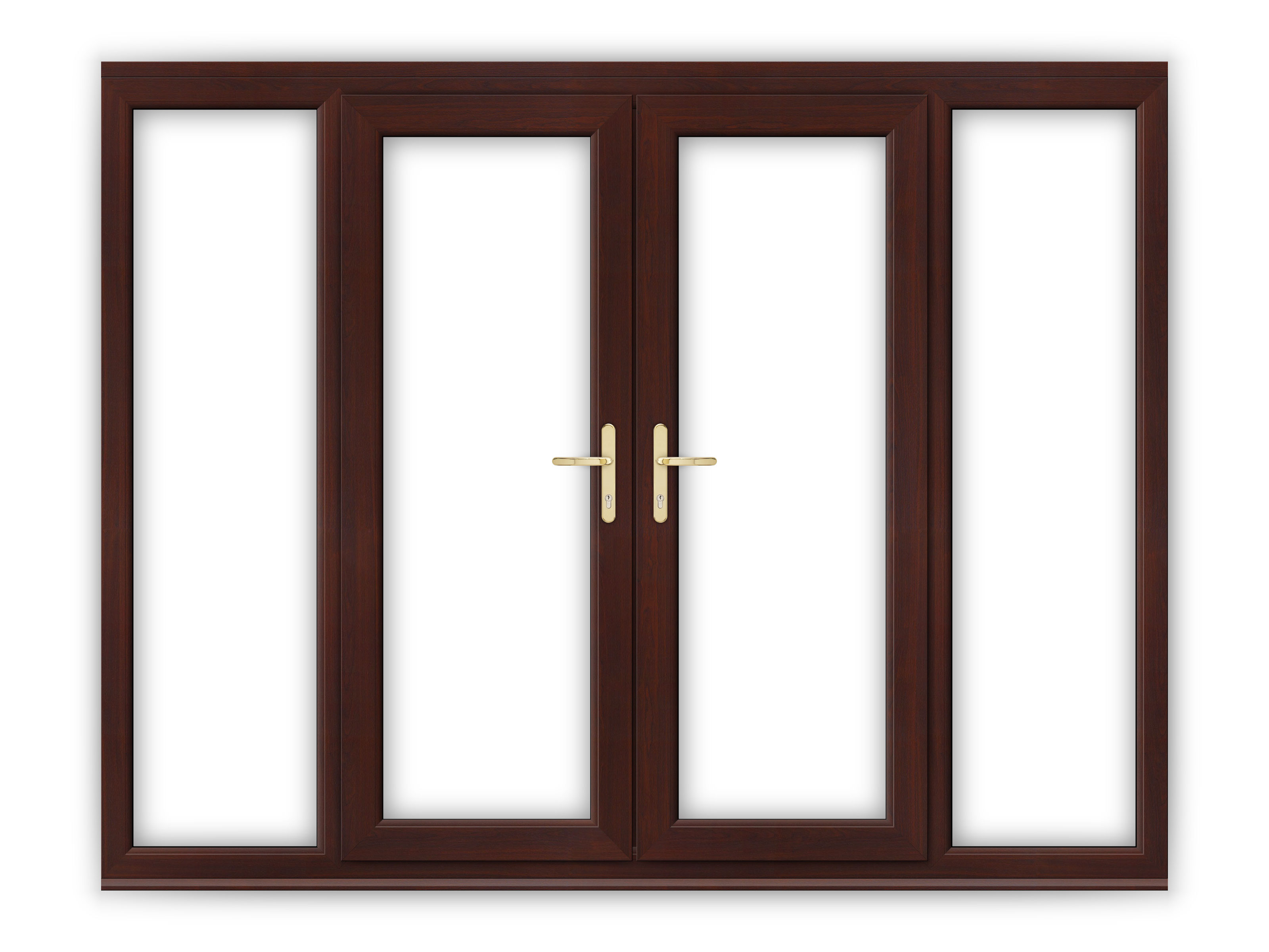 5ft rosewood upvc french doors with wide side panels - How wide are exterior french doors ...
