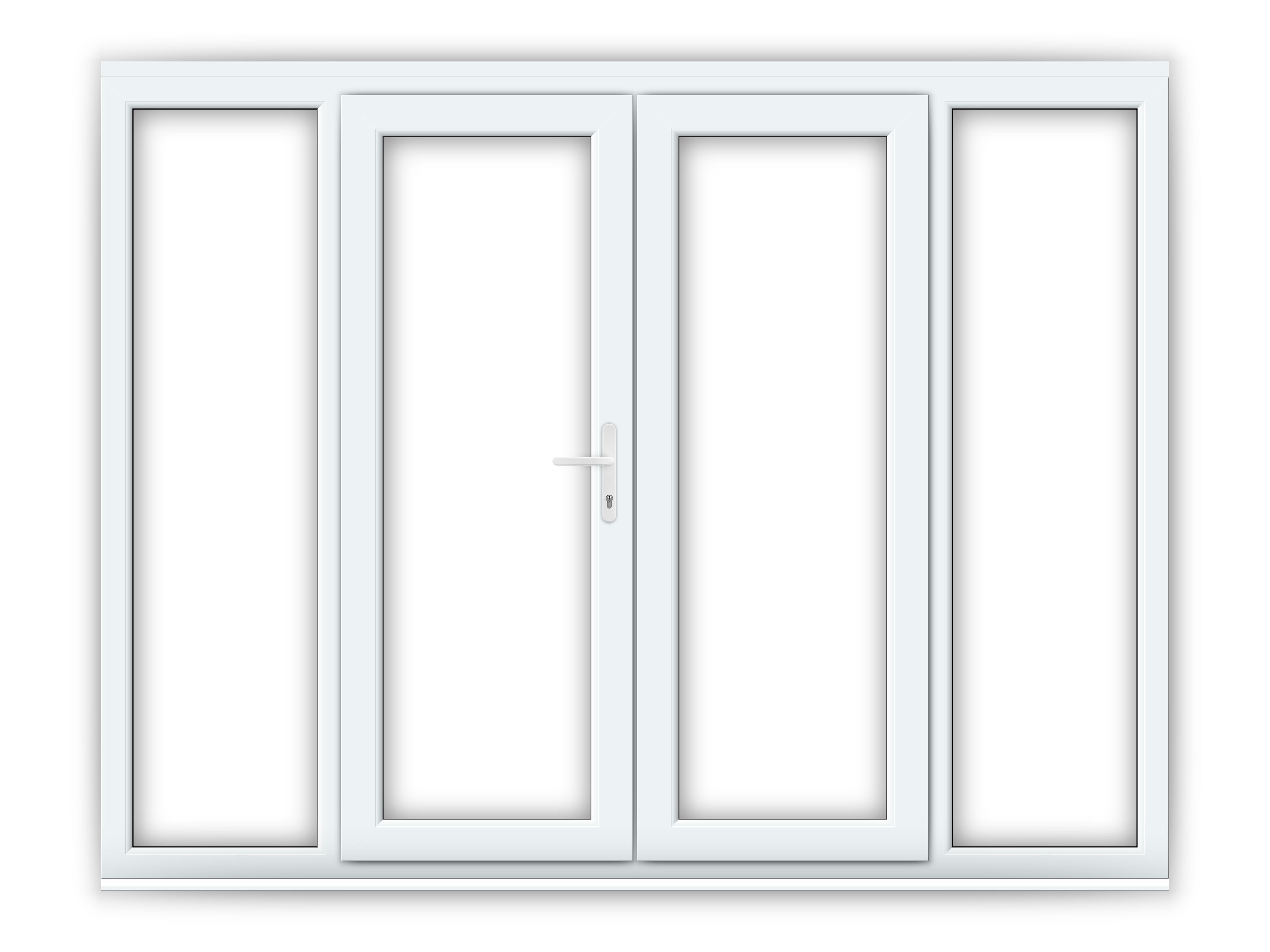5ft upvc french doors with 2 wide upvc side panels