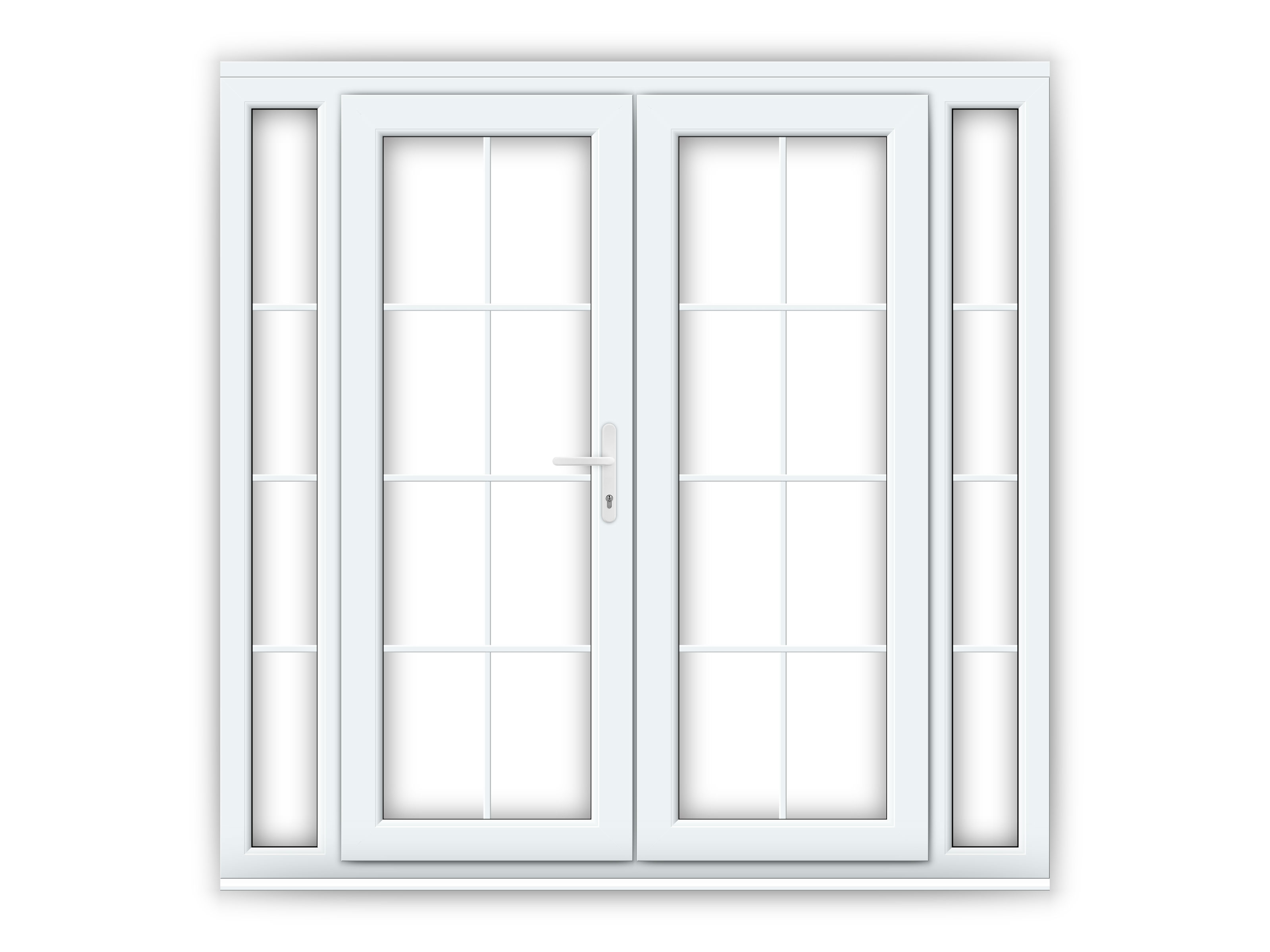 5ft white upvc georgian french doors with narrow side for White upvc french doors with side panels