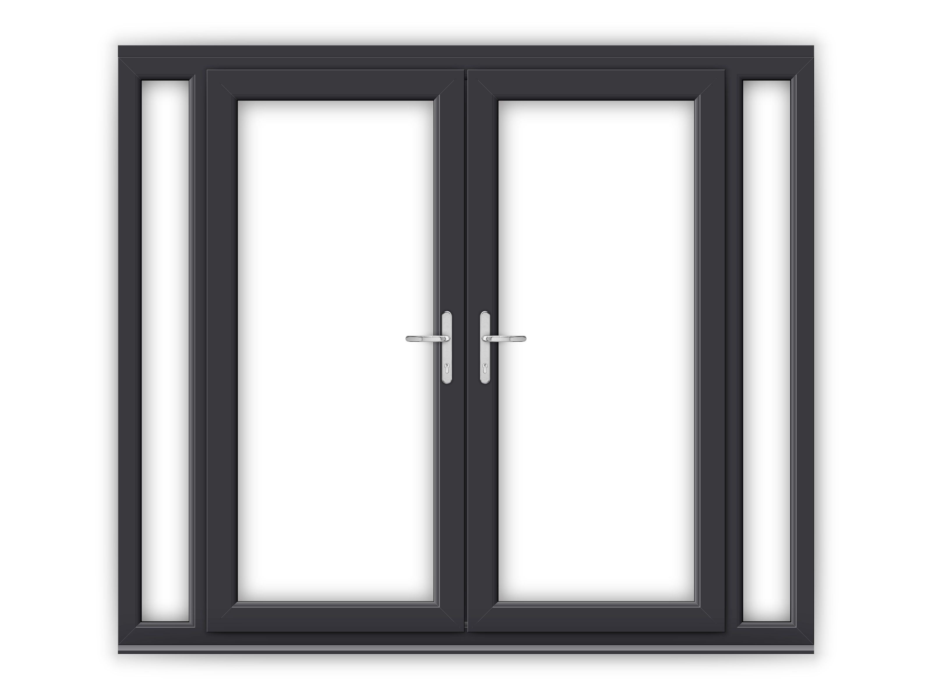 6ft anthracite grey upvc french doors with narrow side for Upvc french doors grey
