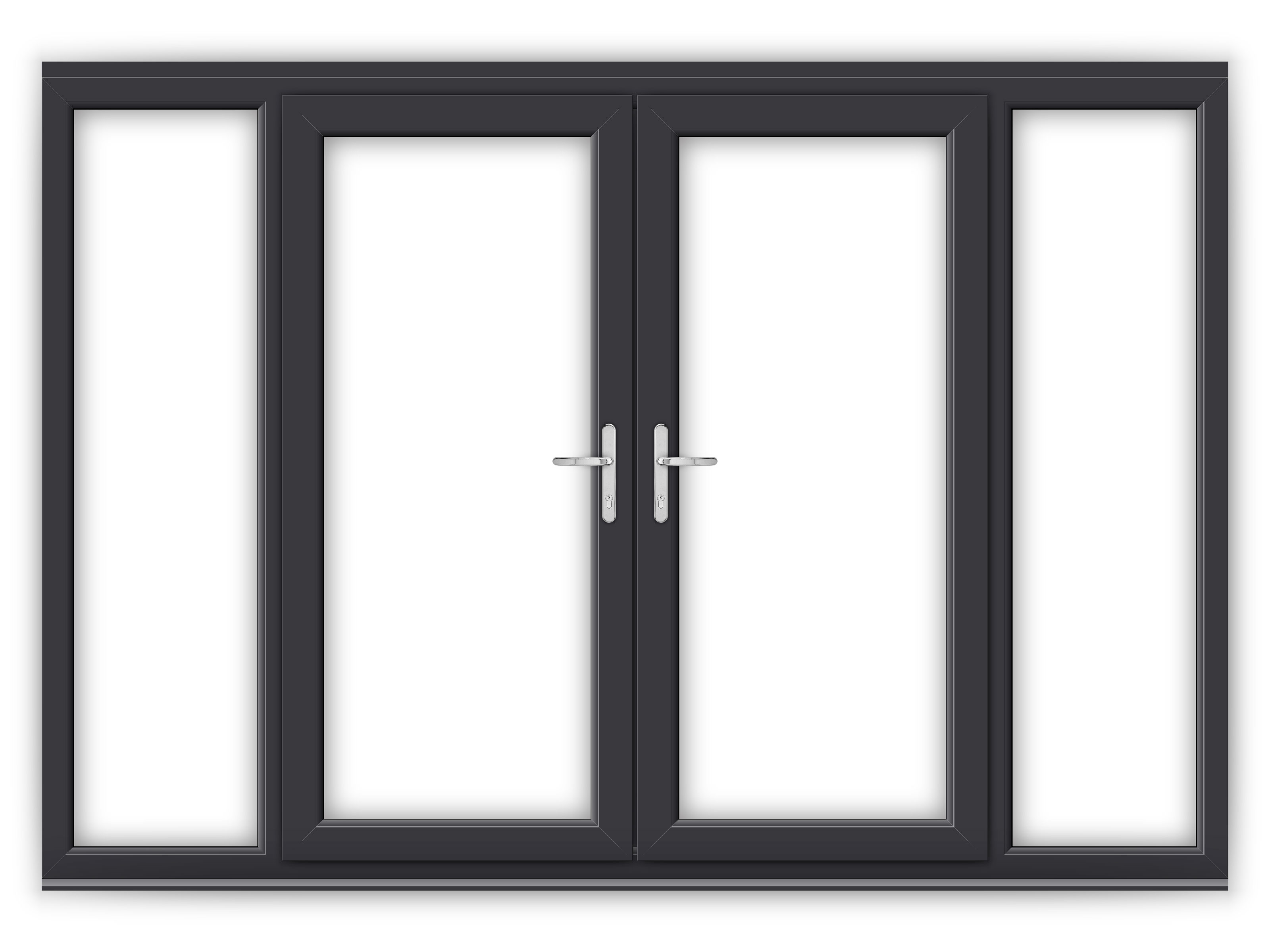 6ft anthracite grey upvc french doors with wide side - How wide are exterior french doors ...
