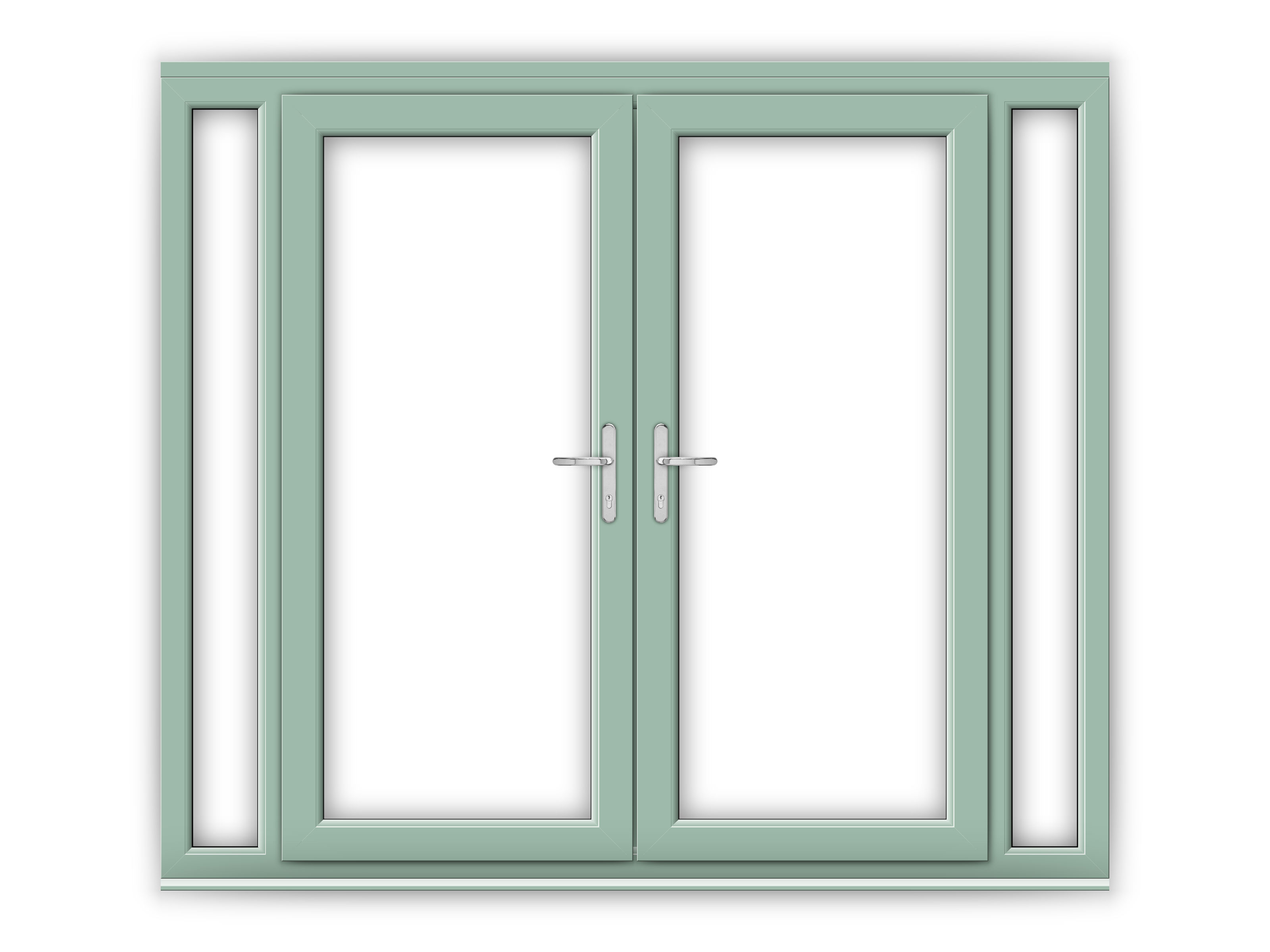 6ft Chartwell Green uPVC French Doors with Narrow Side Panels