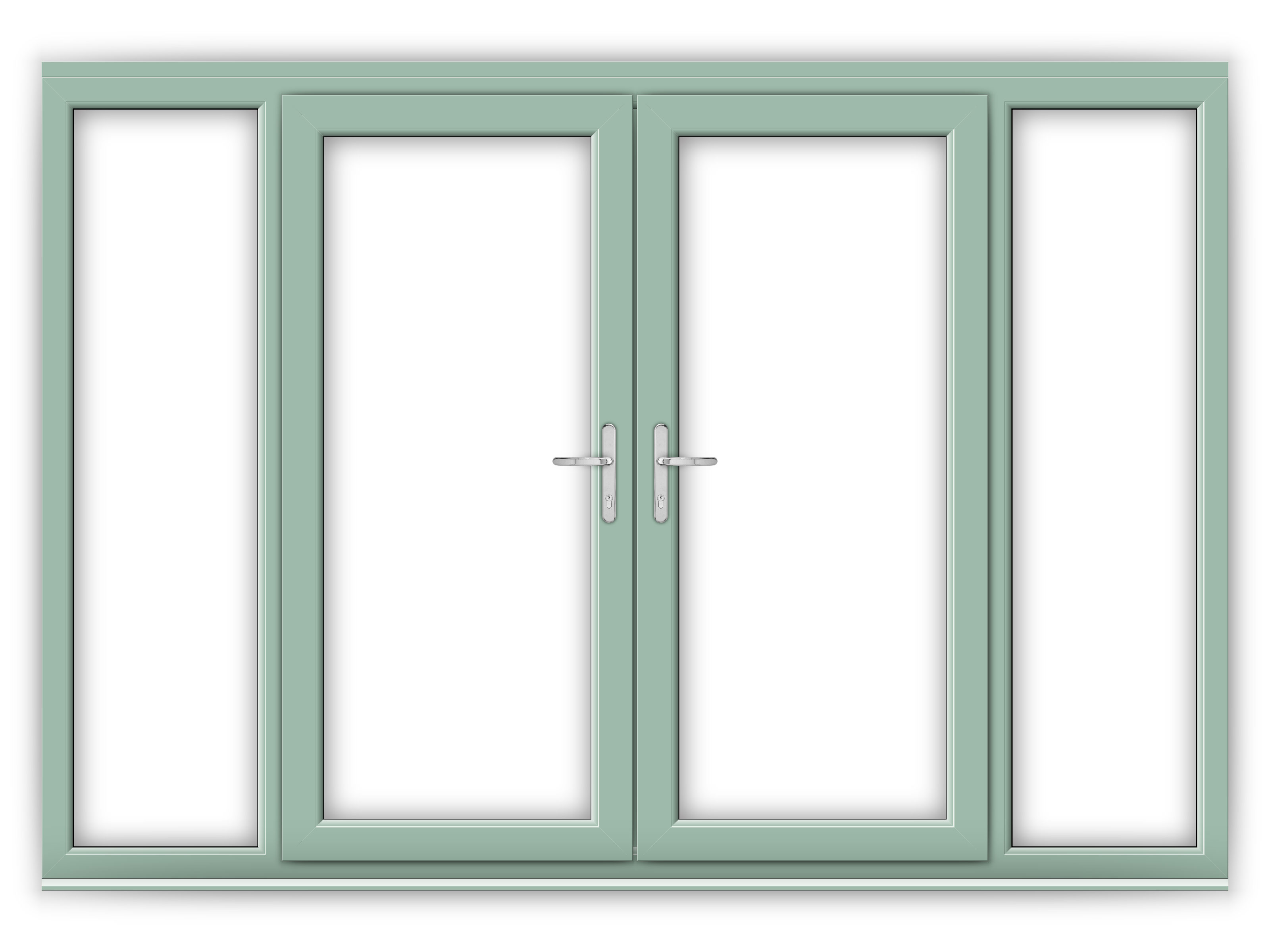 6ft Chartwell Green Upvc French Doors With Wide Side Panels Flying