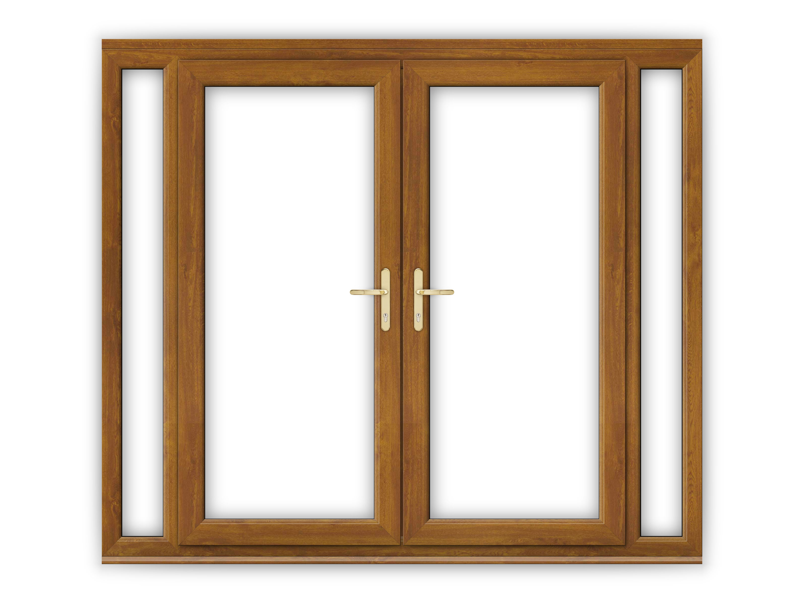6ft golden oak upvc french doors with narrow side panels for Narrow french patio doors