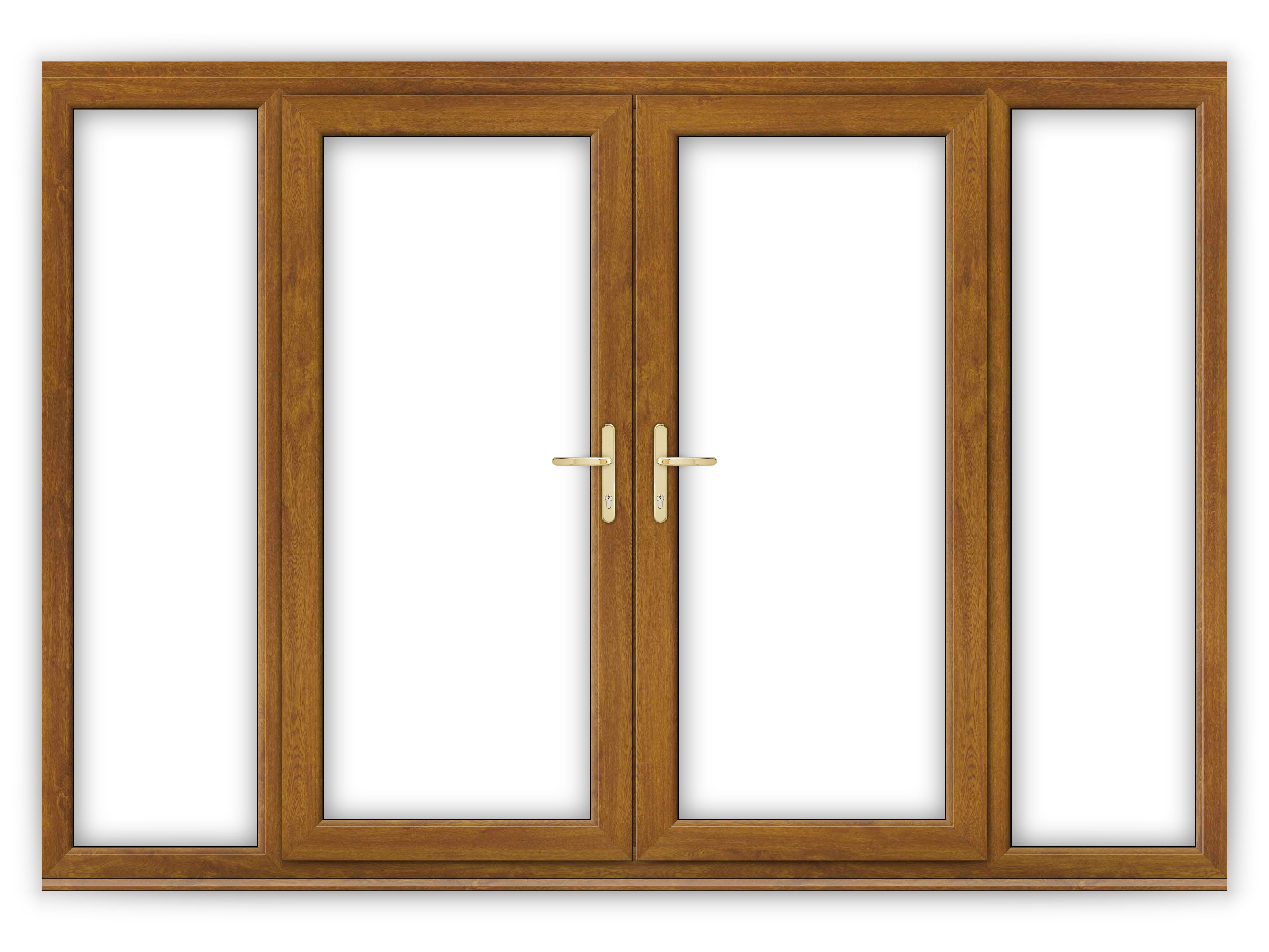 6ft golden oak upvc french doors with wide side panels