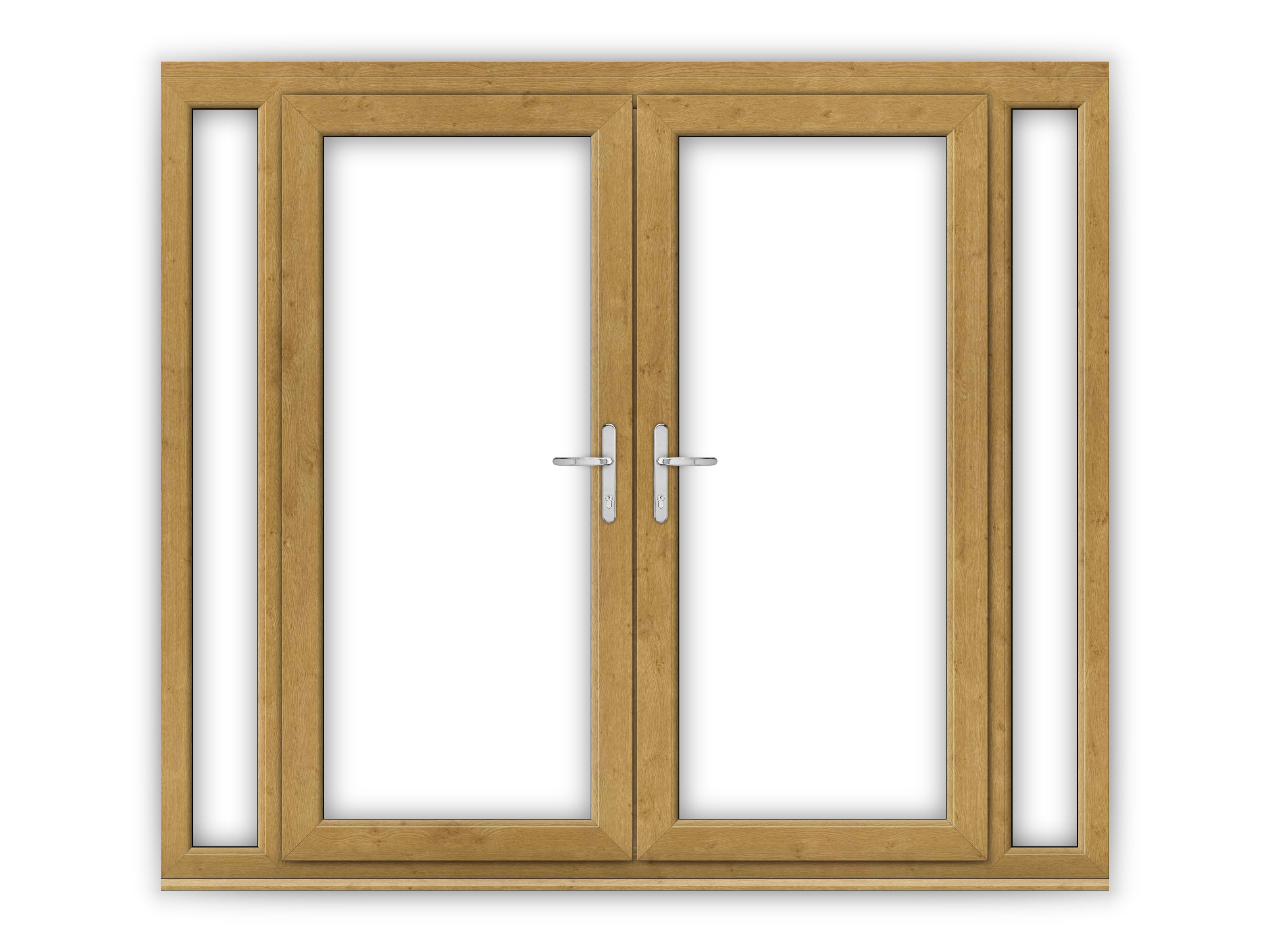 6ft irish oak upvc french doors with narrow side panels for Narrow interior french doors
