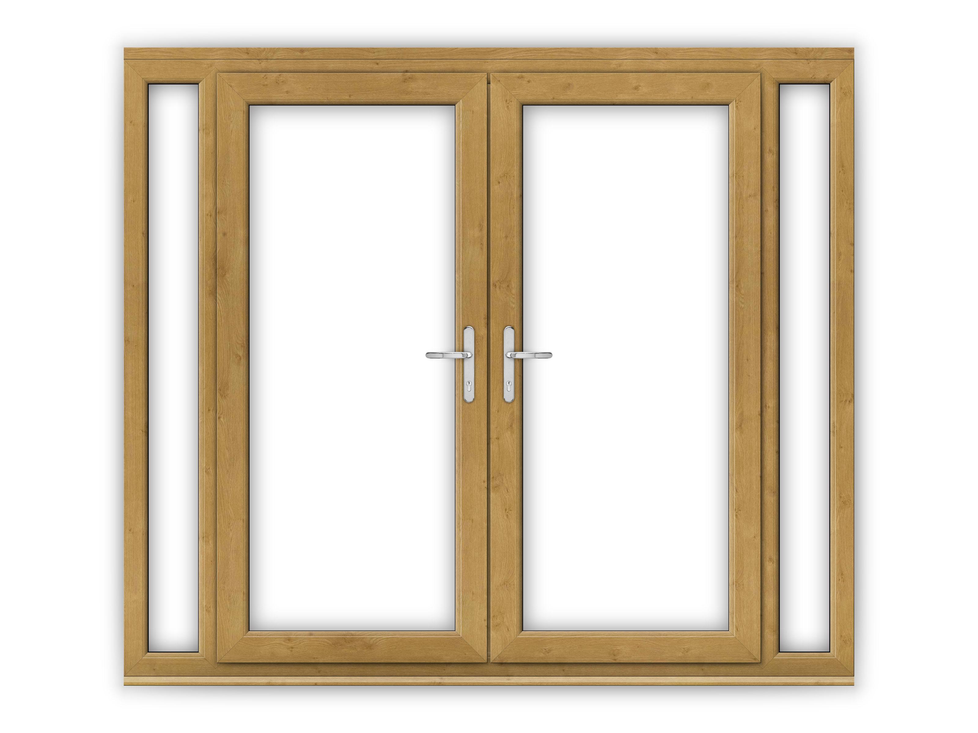6ft irish oak upvc french doors with narrow side panels for Upvc french doors northern ireland
