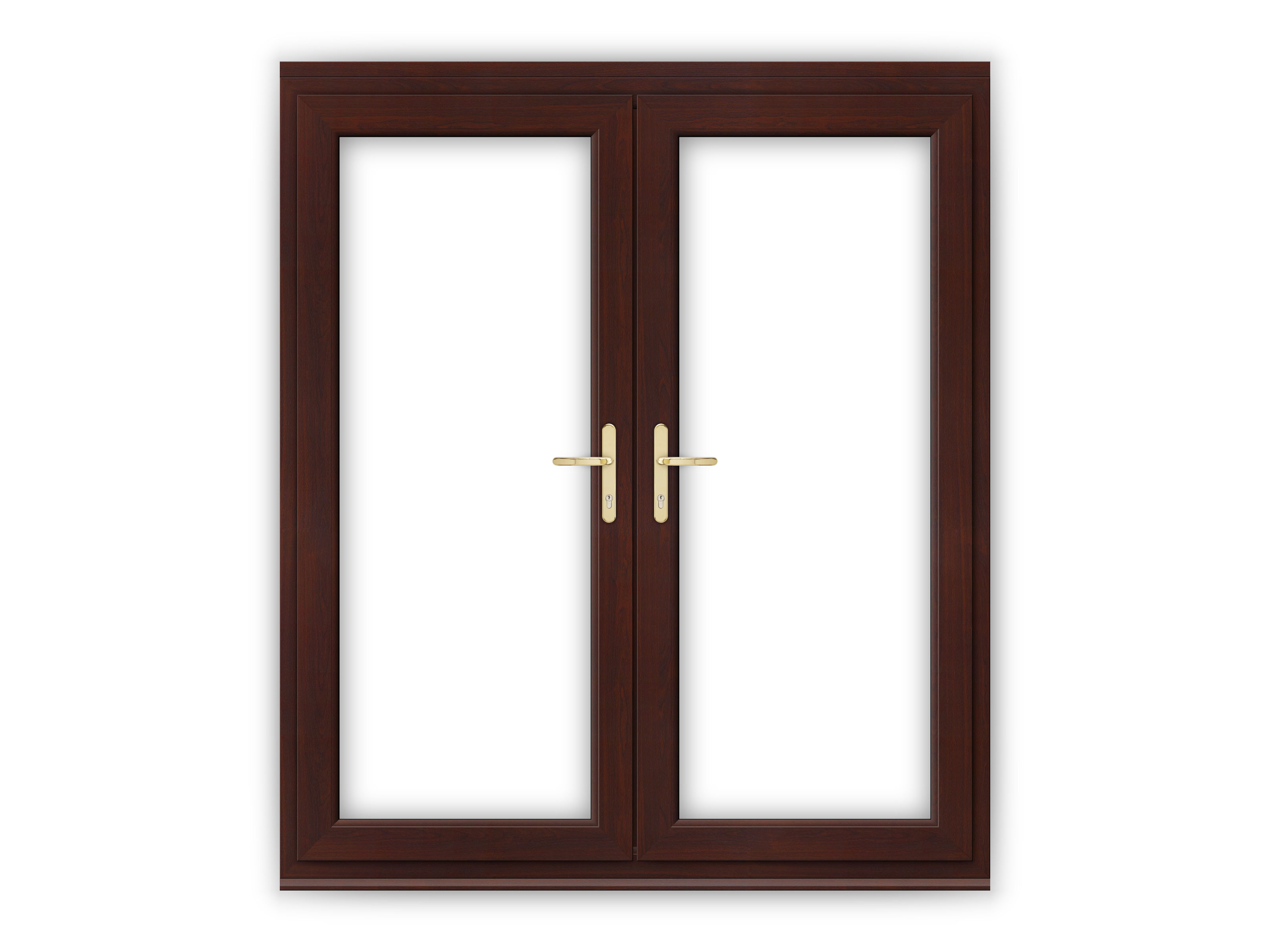 6ft rosewood upvc french doors flying doors for Brown upvc patio doors