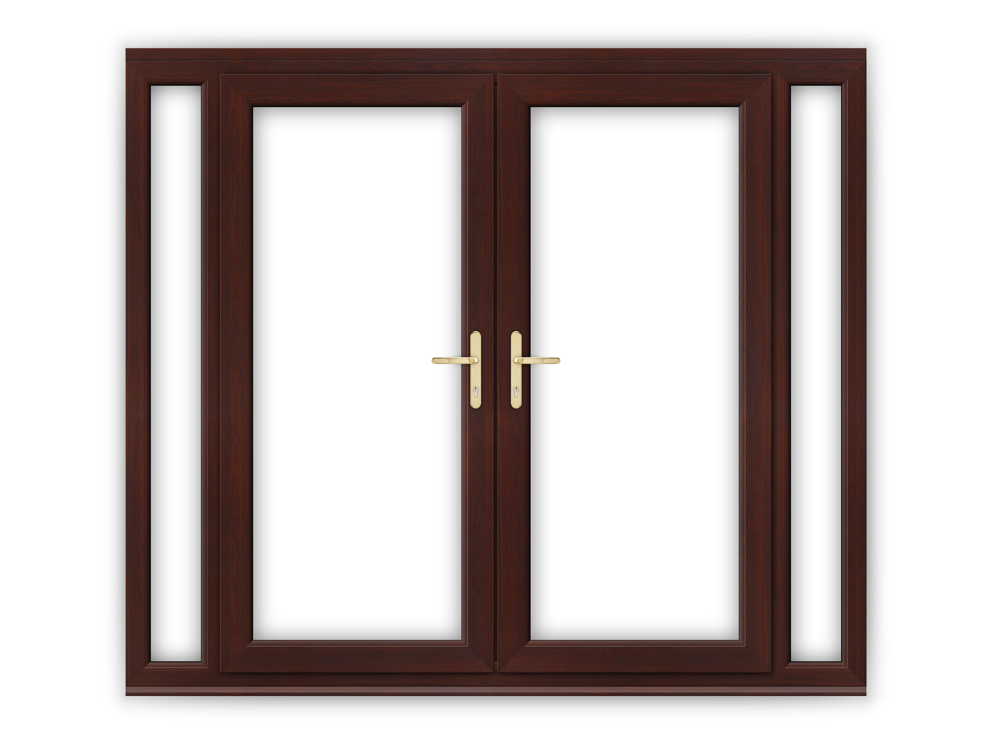 6ft rosewood upvc french doors with narrow side panels for Brown upvc patio doors