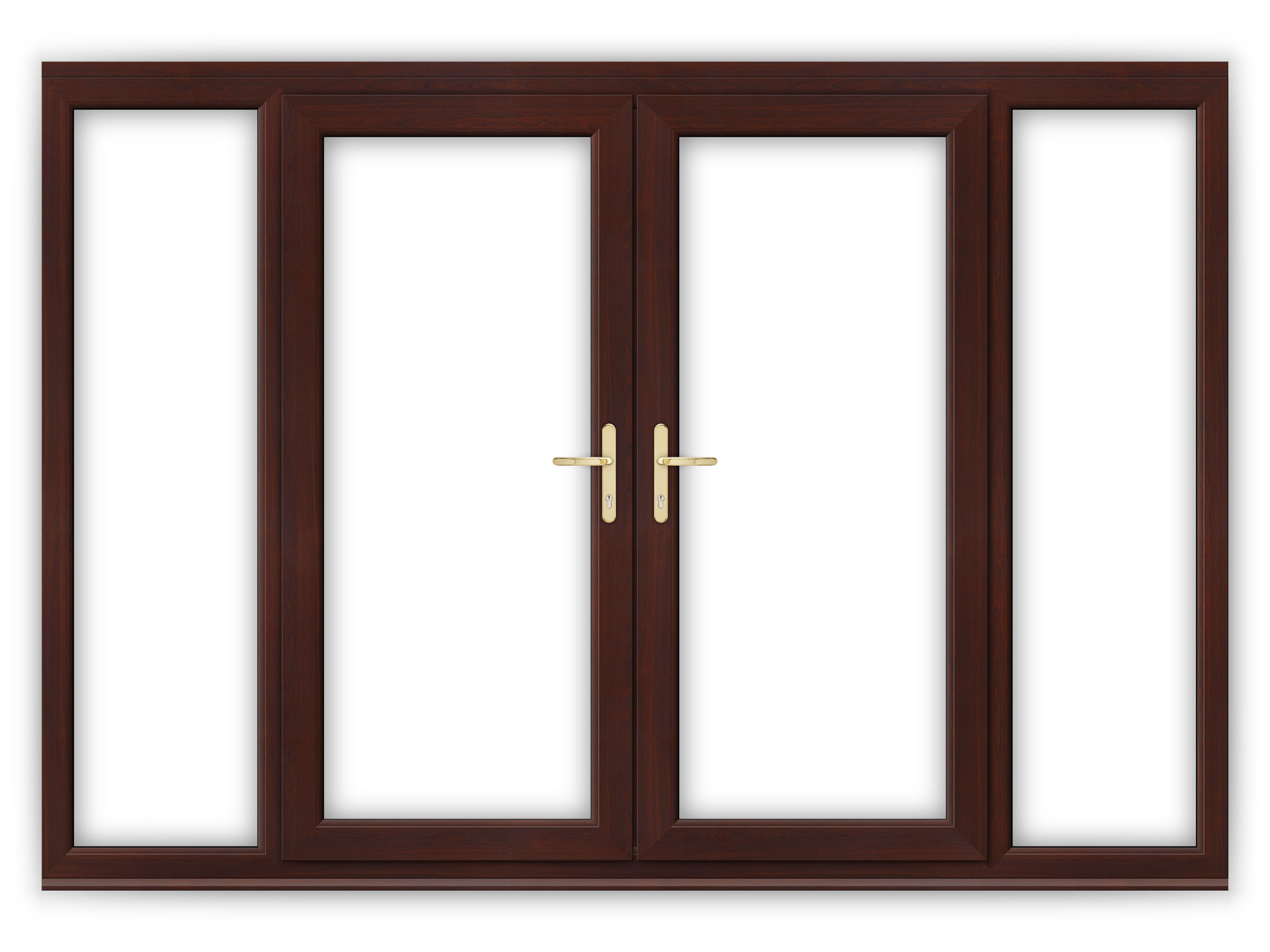 6ft rosewood upvc french doors with wide side panels