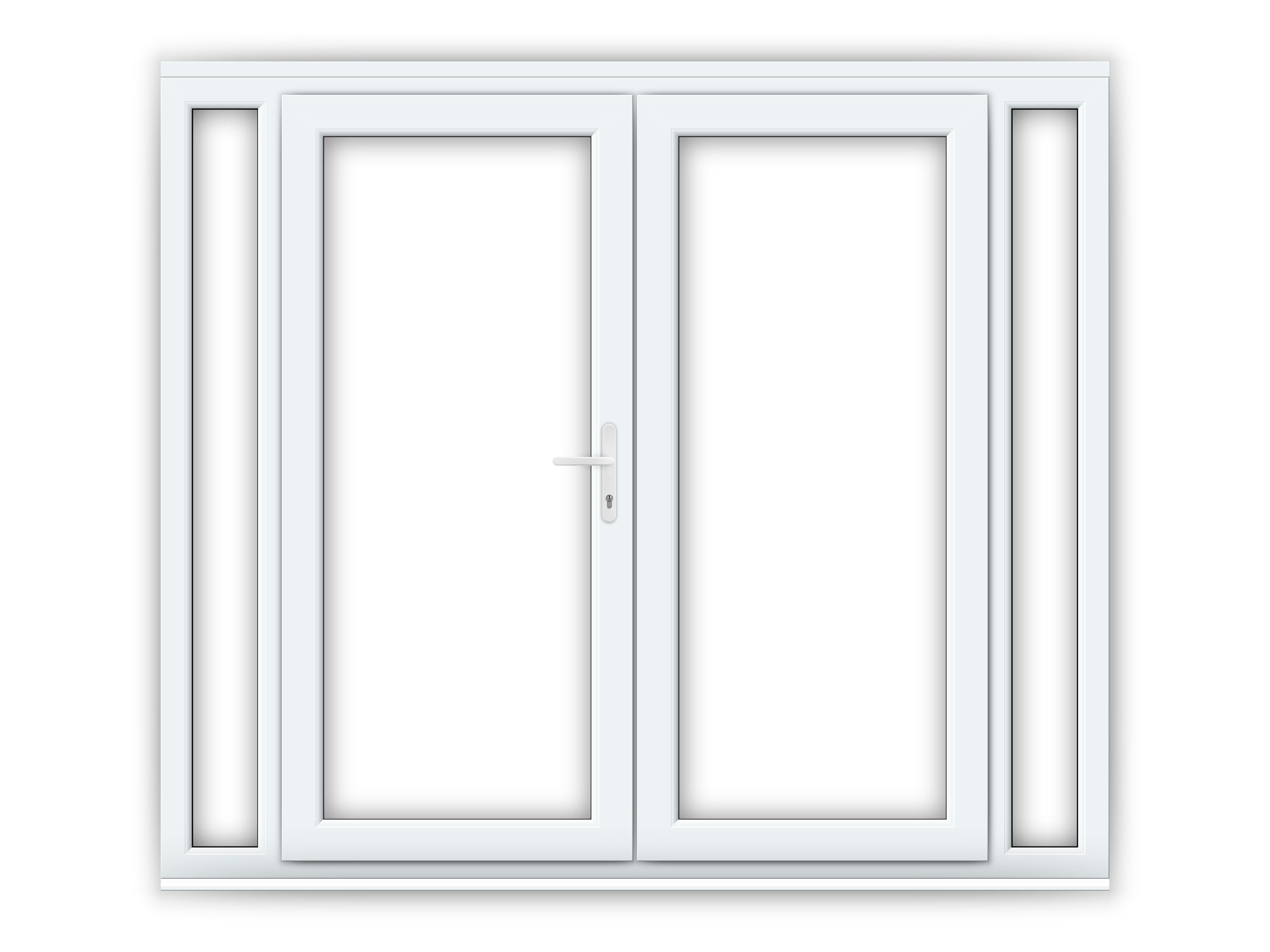 6ft upvc french doors with 2 narrow upvc side panels