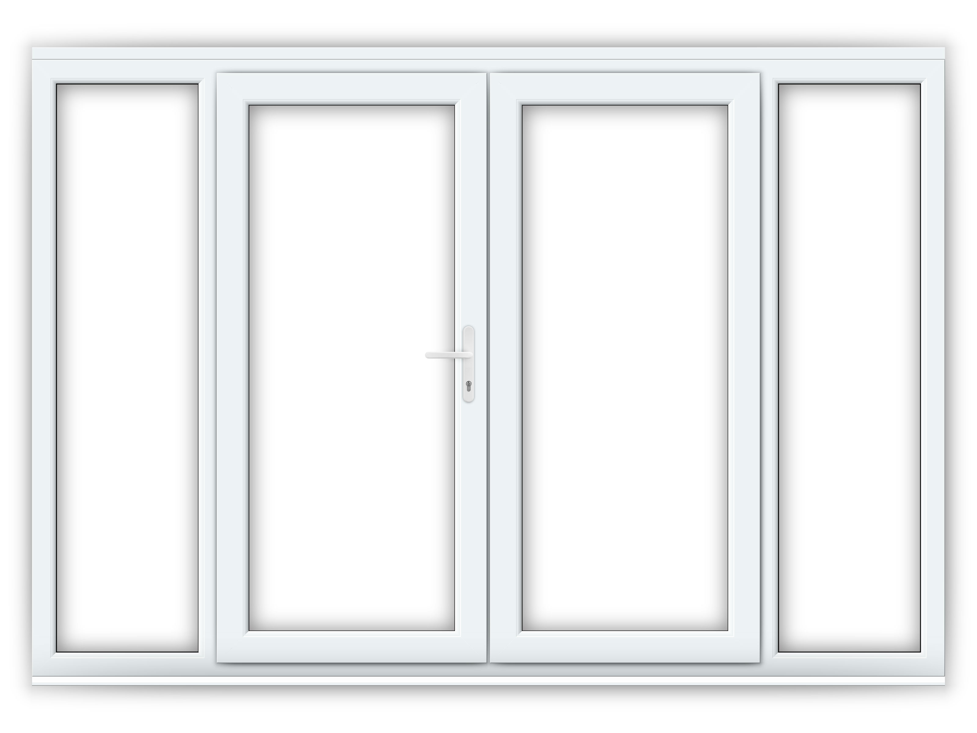 6ft upvc french doors with 2 wide upvc side panels
