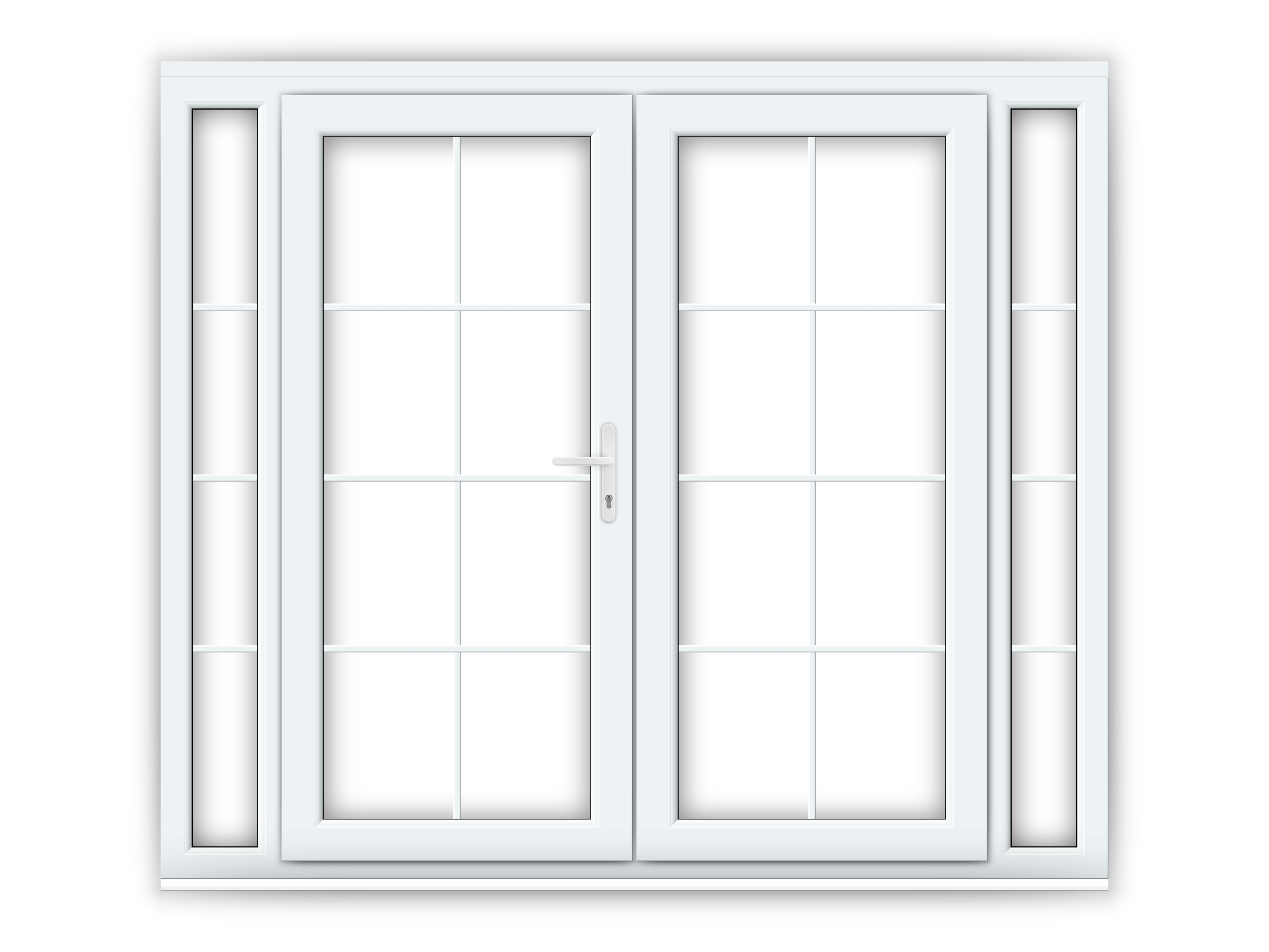 6ft White Upvc Georgian French Doors With Narrow Side