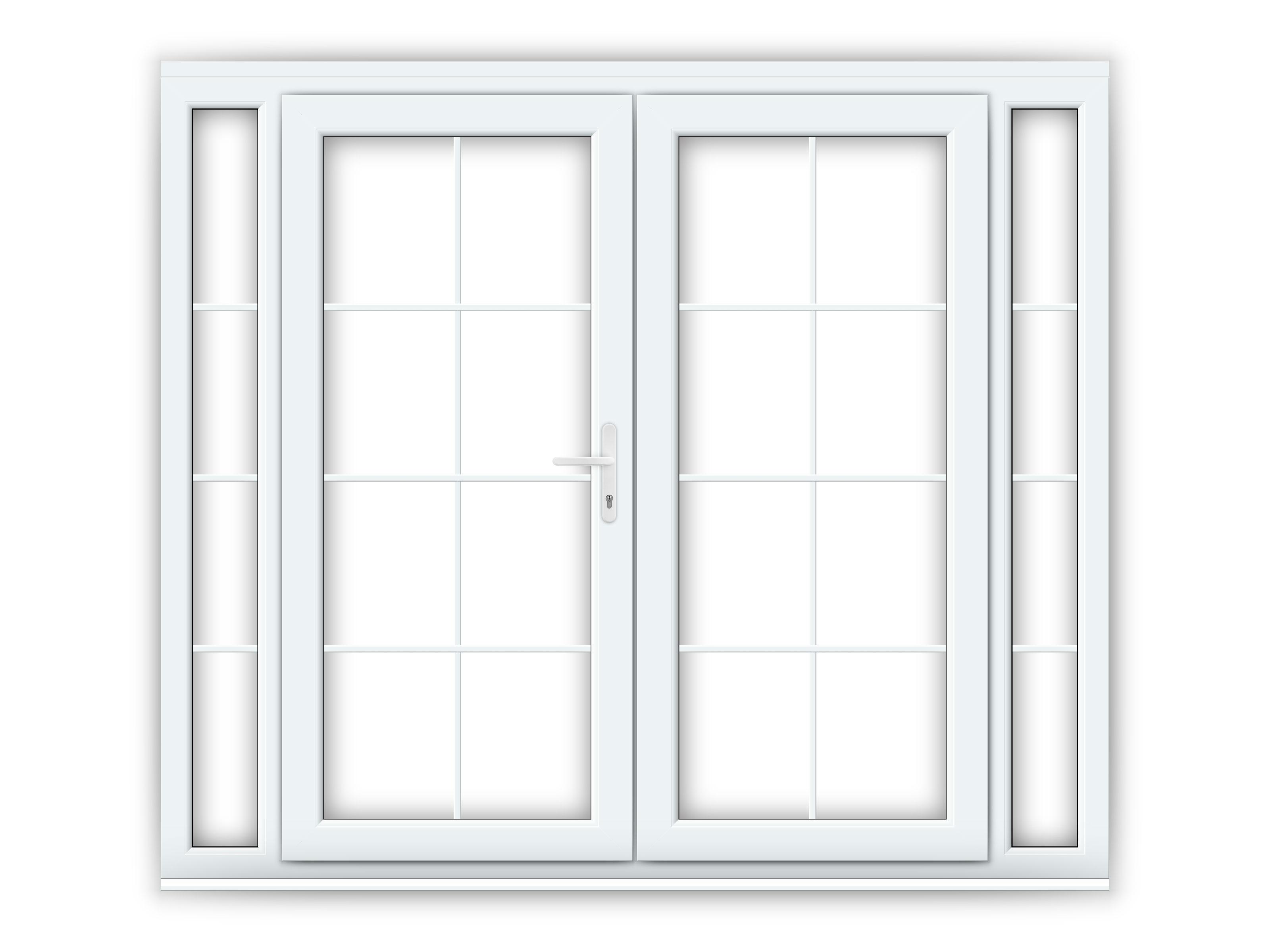 6ft upvc georgian french doors with 2 narrow upvc side panels flying doors. Black Bedroom Furniture Sets. Home Design Ideas