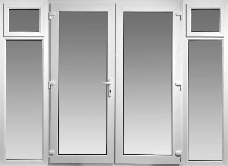 6ft upvc french doors with 2 wide side panels flying doors for White pvc patio doors