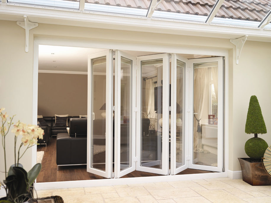 4m custom upvc folding door set flying doors for Upvc folding doors