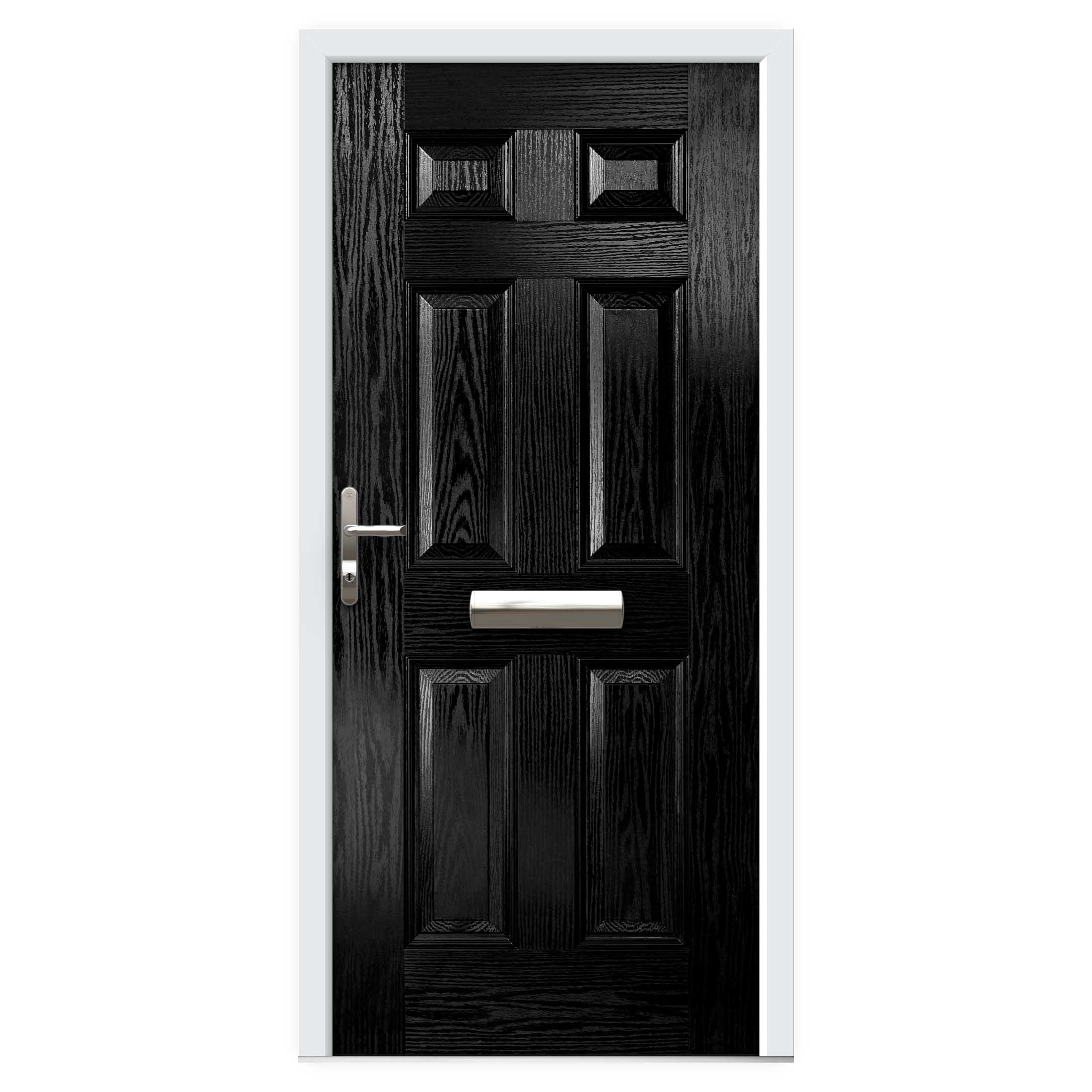 Black 6 Panel Composite Front Door