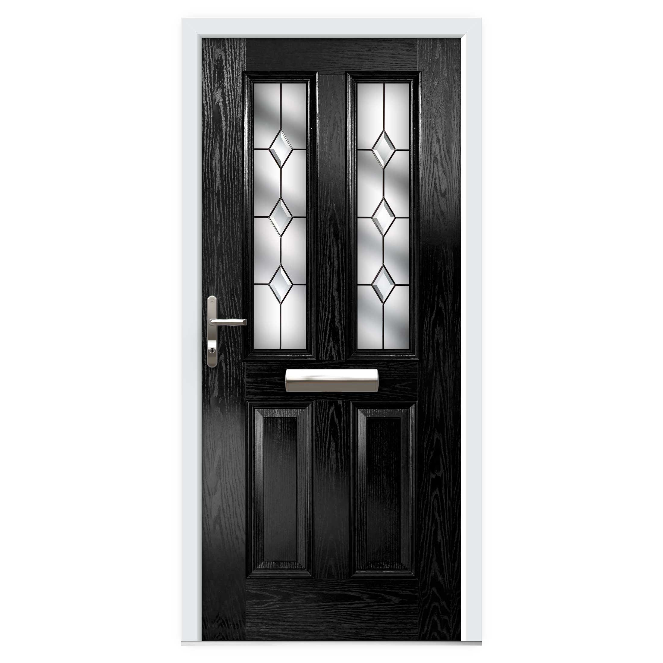 Black Narrow Lite Composite Front Door Flying Doors