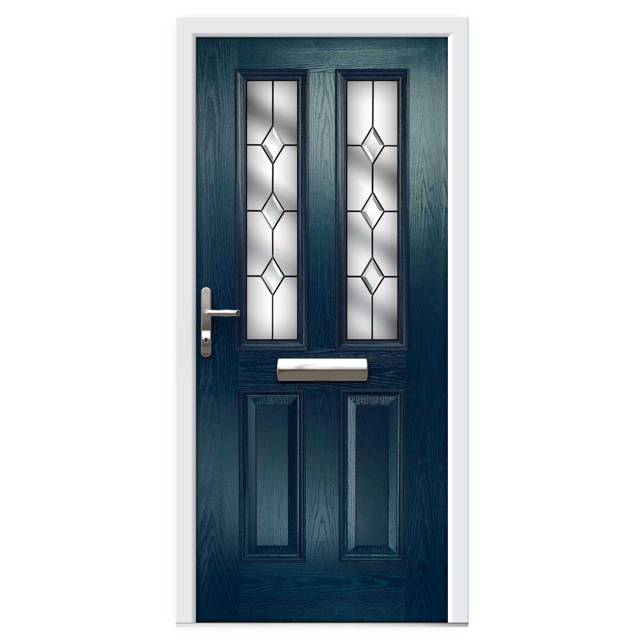 Blue Narrow Lite Composite Front Door Flying Doors