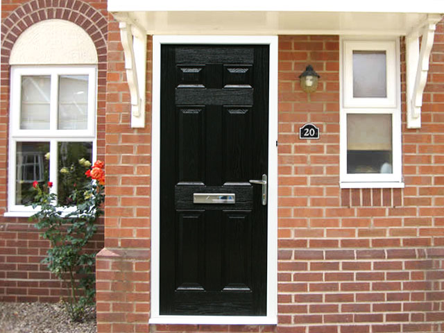 Regency black 3ft composite front door set flying doors for Composite front doors